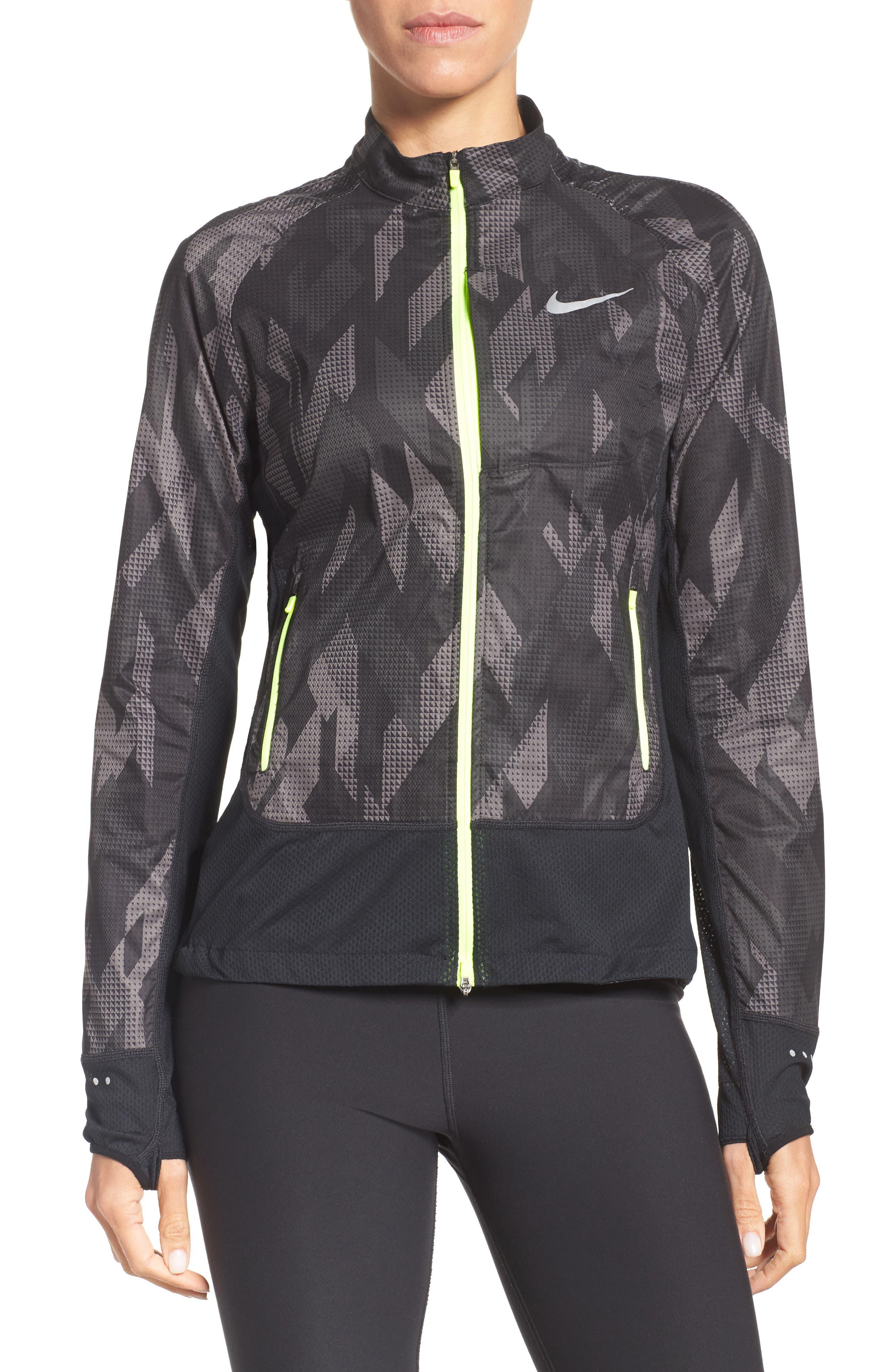 Flex Running Jacket,                         Main,                         color, Black/ Black/ Volt