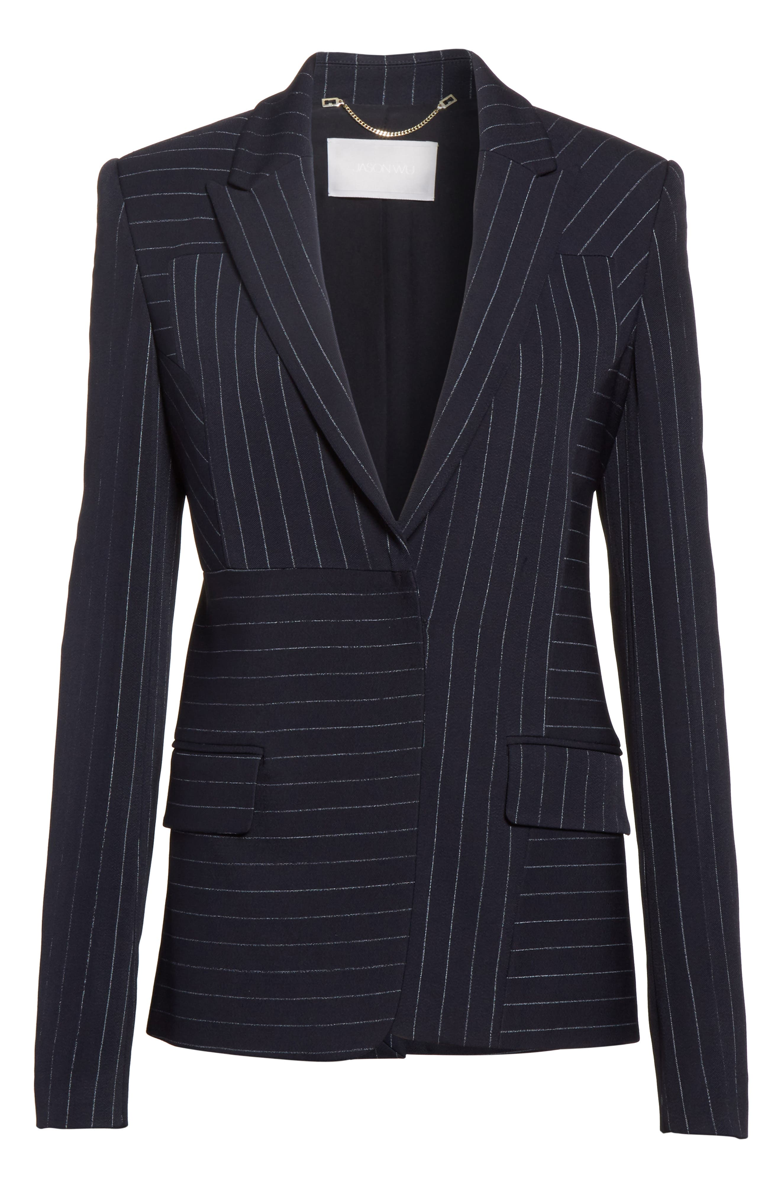 Pinstripe Stretch Jacket,                             Alternate thumbnail 4, color,                             Black/ Chalk