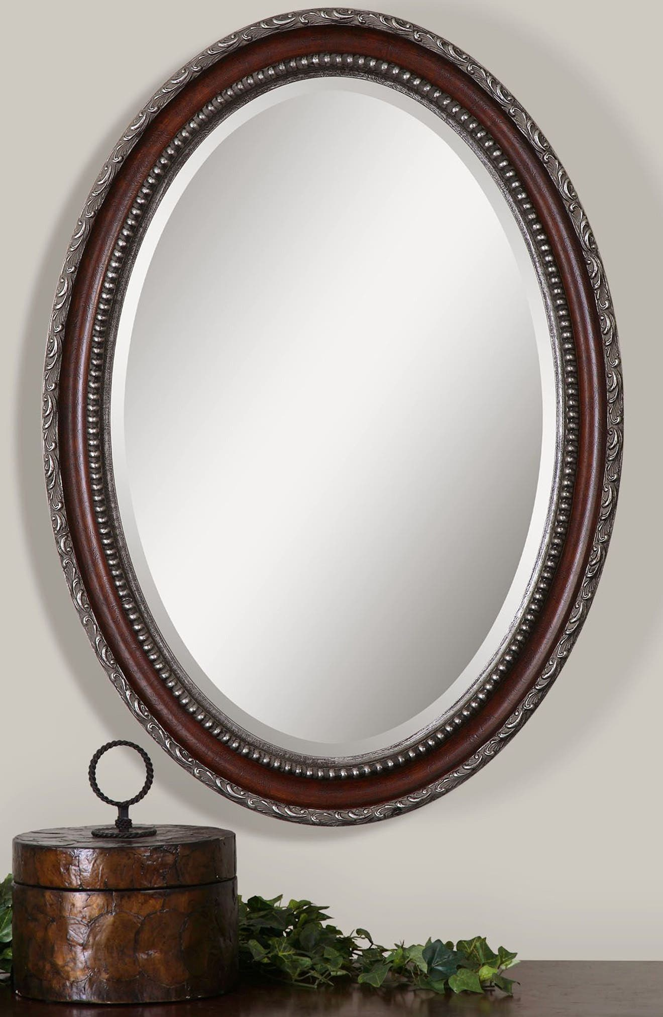 Montrose Oval Wall Mirror,                             Alternate thumbnail 2, color,                             Brown