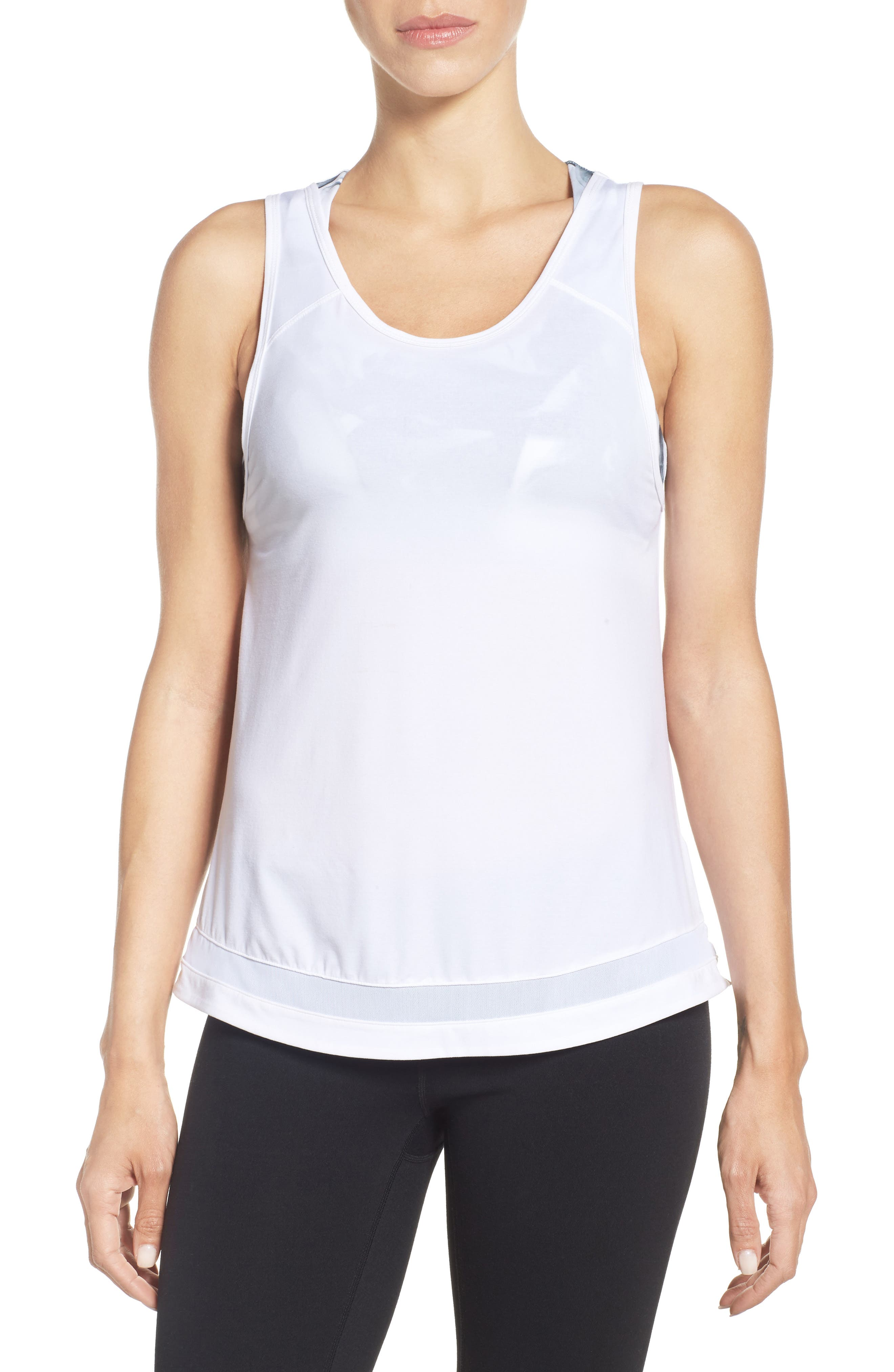 Kayla Mesh Inset Tank,                         Main,                         color, White