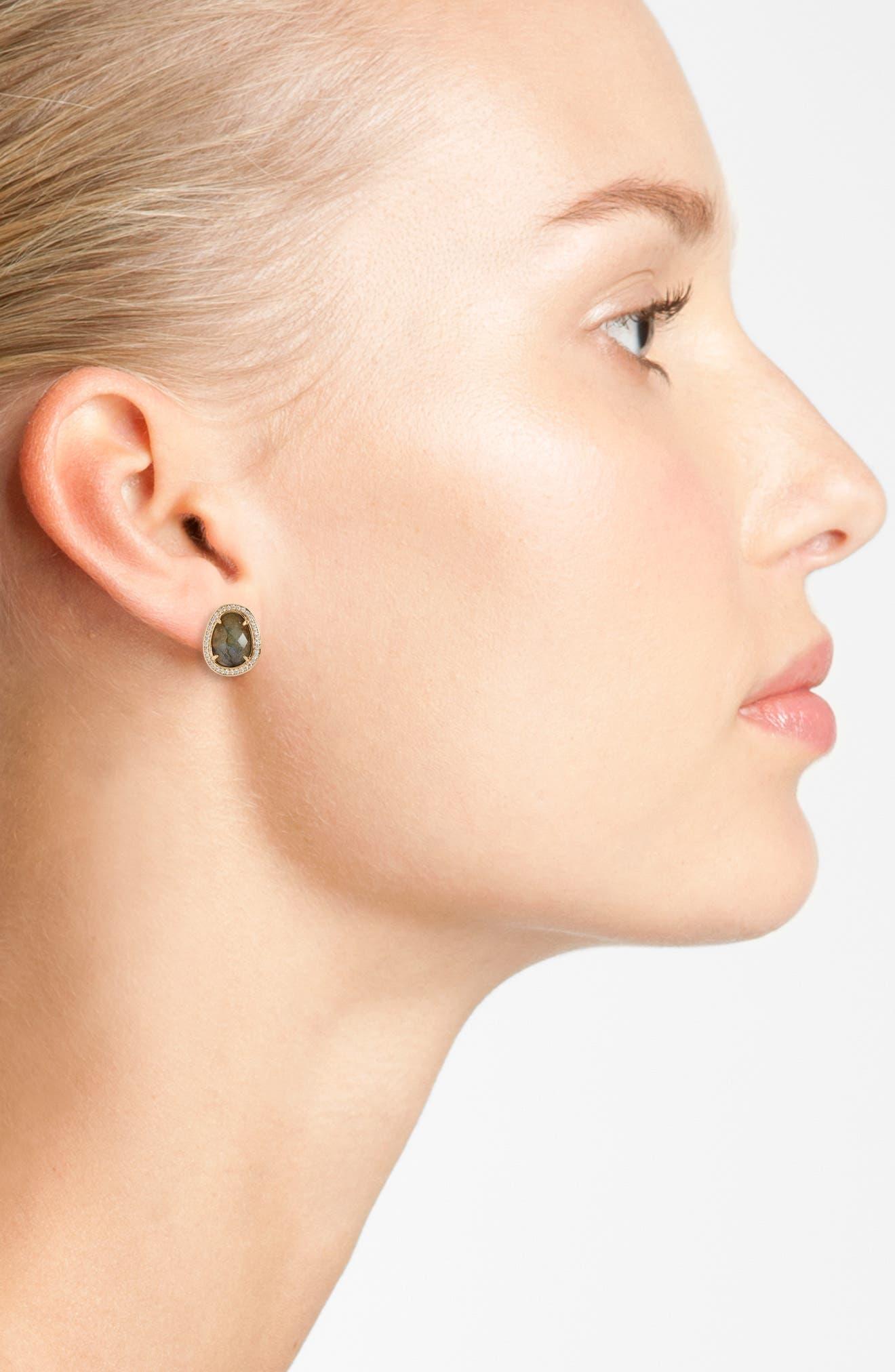 Semiprecious Stone Stud Earrings,                             Alternate thumbnail 2, color,                             Labradorite/ Gold