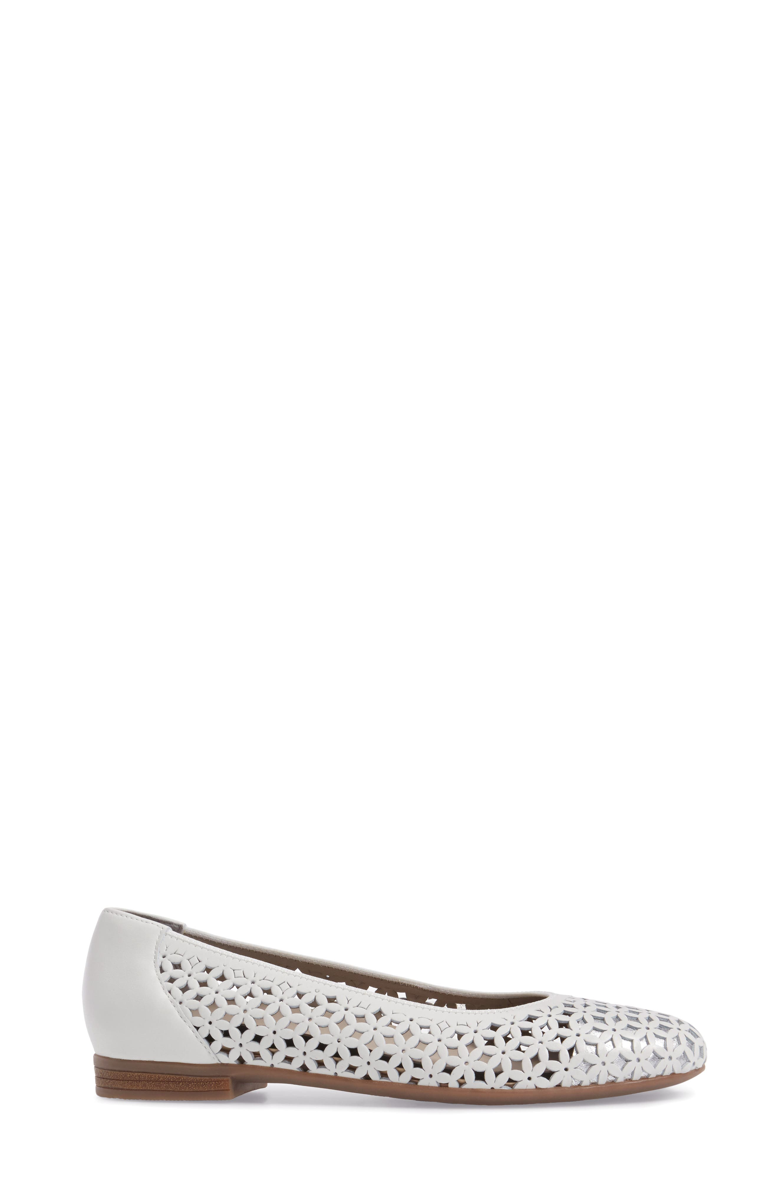 Stephanie Perforated Ballet Flat,                             Alternate thumbnail 3, color,                             White Leather