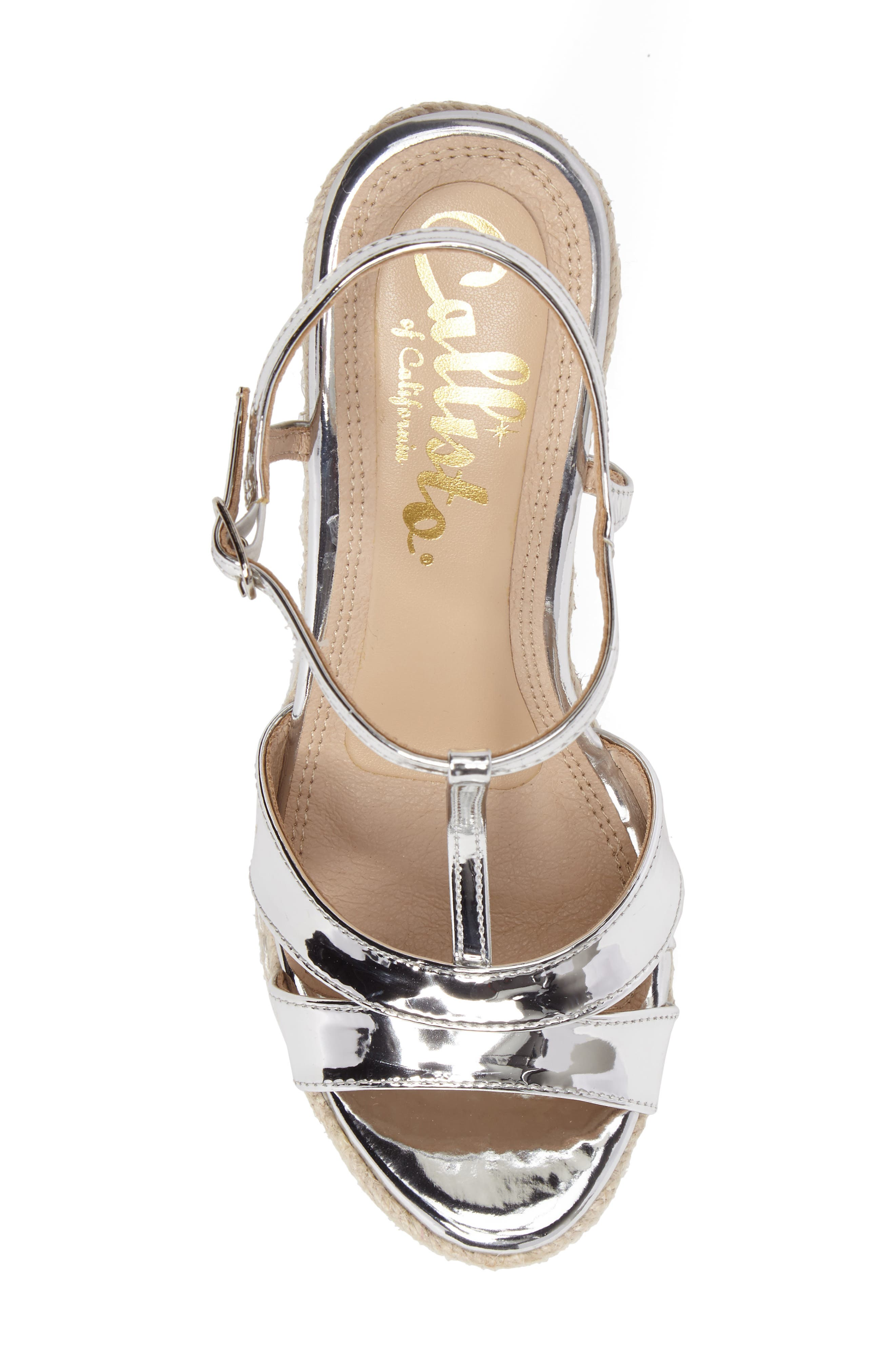 Alinna T-Strap Wedge Sandal,                             Alternate thumbnail 5, color,                             Silver Faux Leather