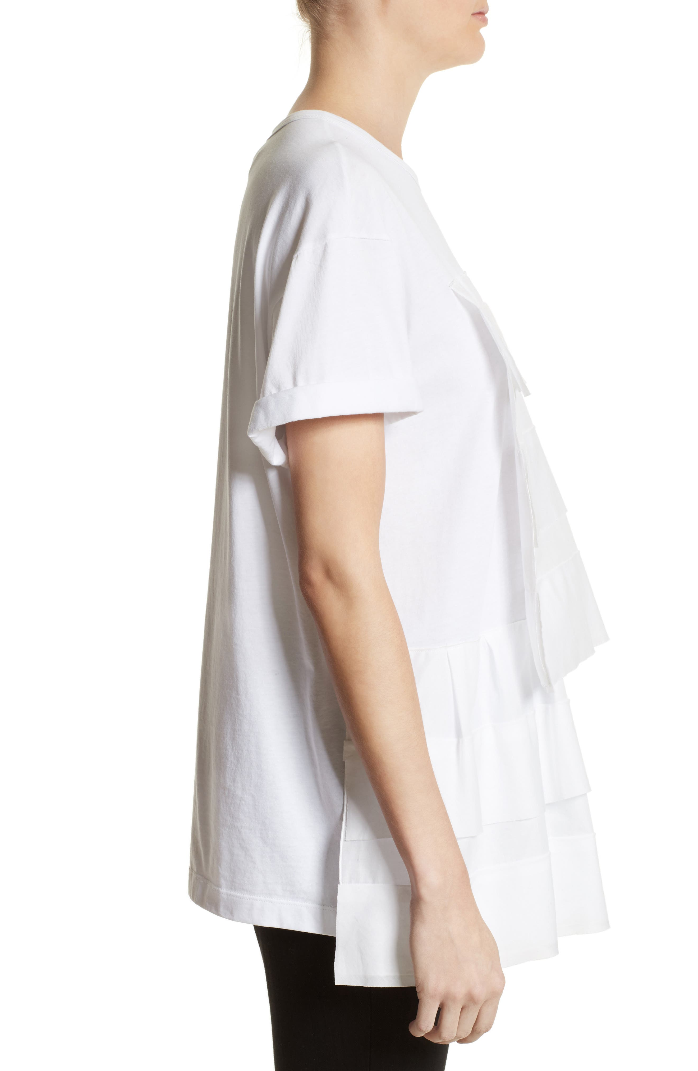 Asymmetrical Ruffle Tee,                             Alternate thumbnail 3, color,                             White