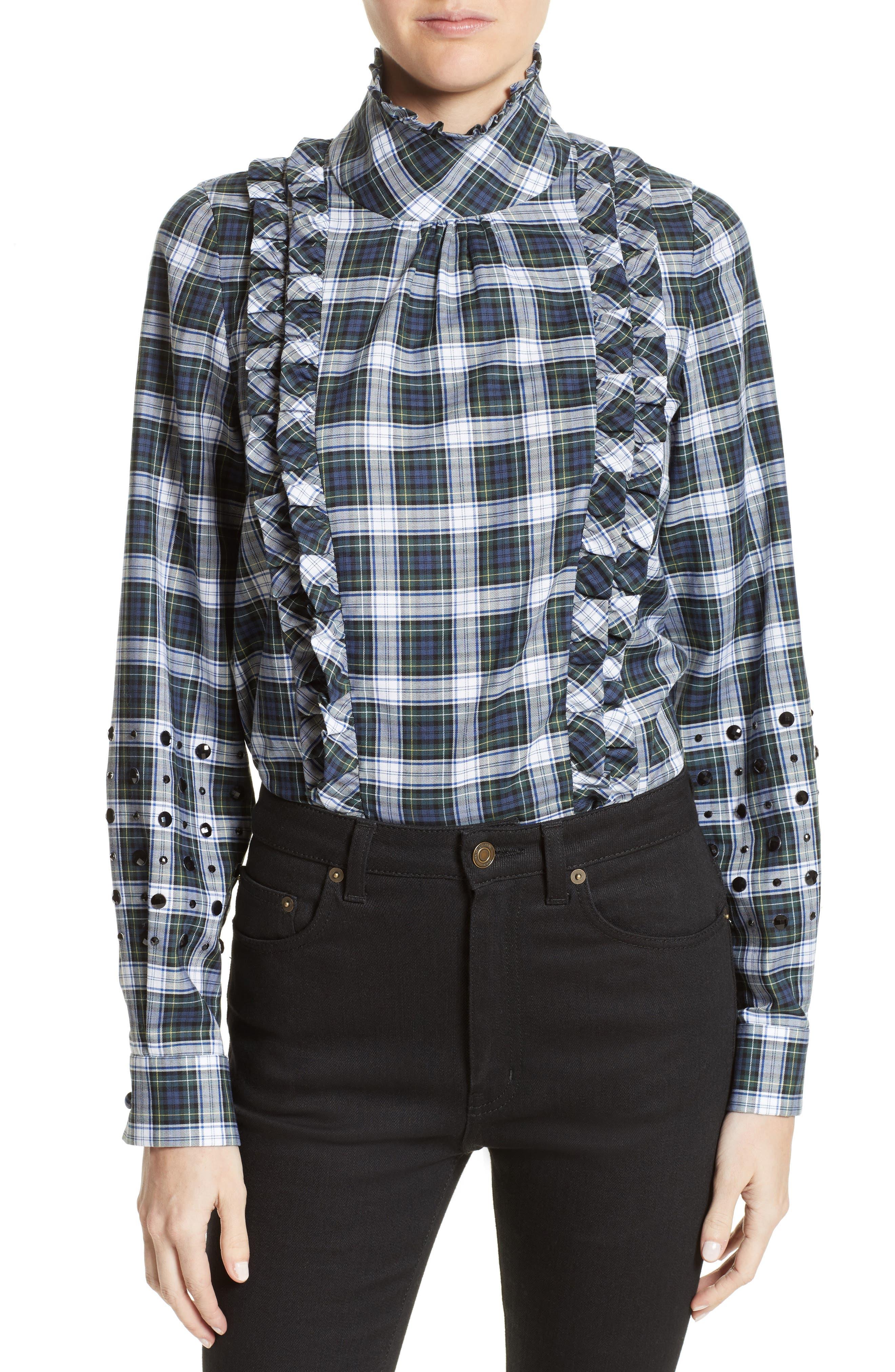 N°21 Crystal Embellished Plaid Shirt