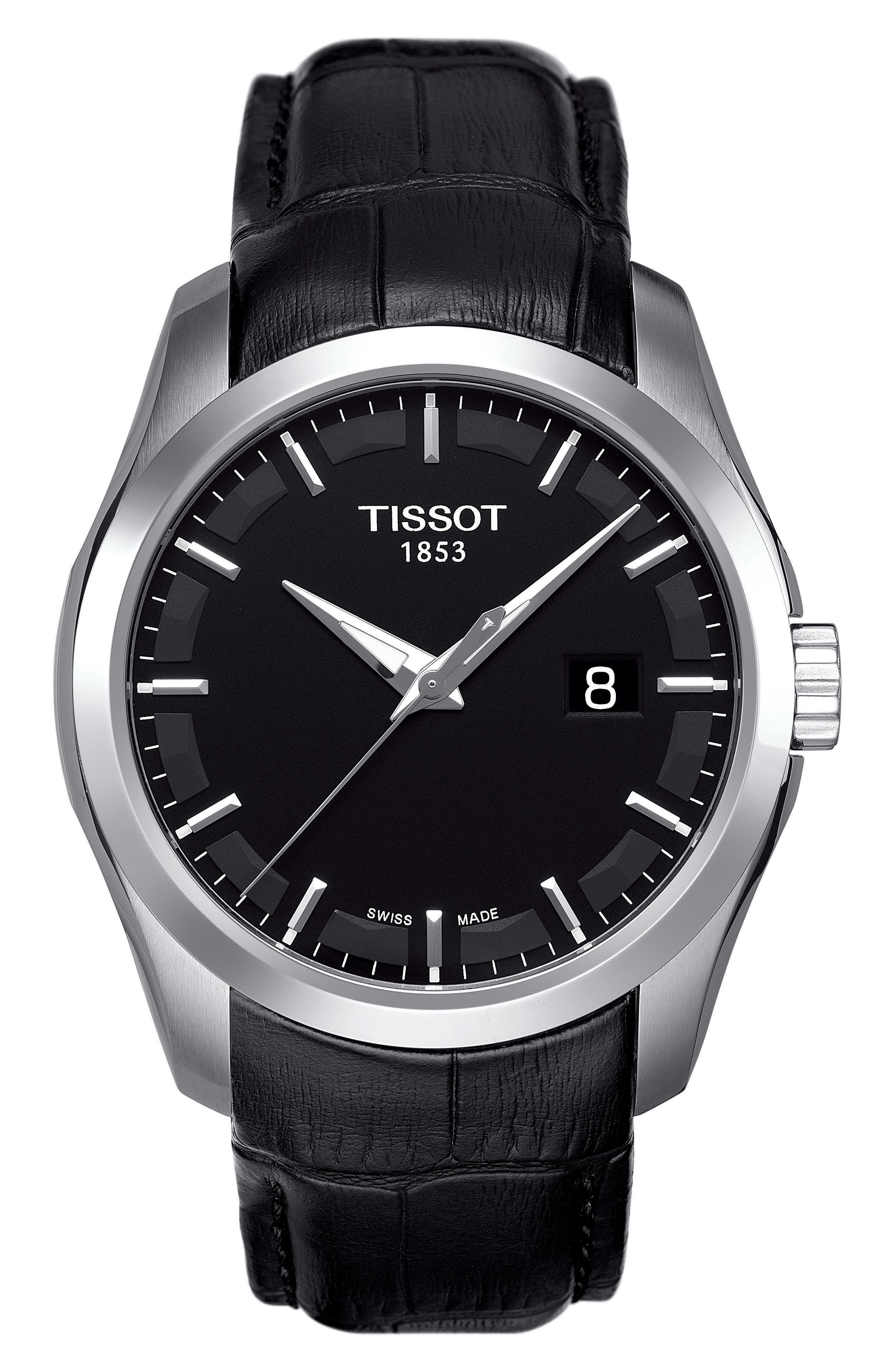 Main Image - Tissot Couturier Leather Strap Watch, 39mm