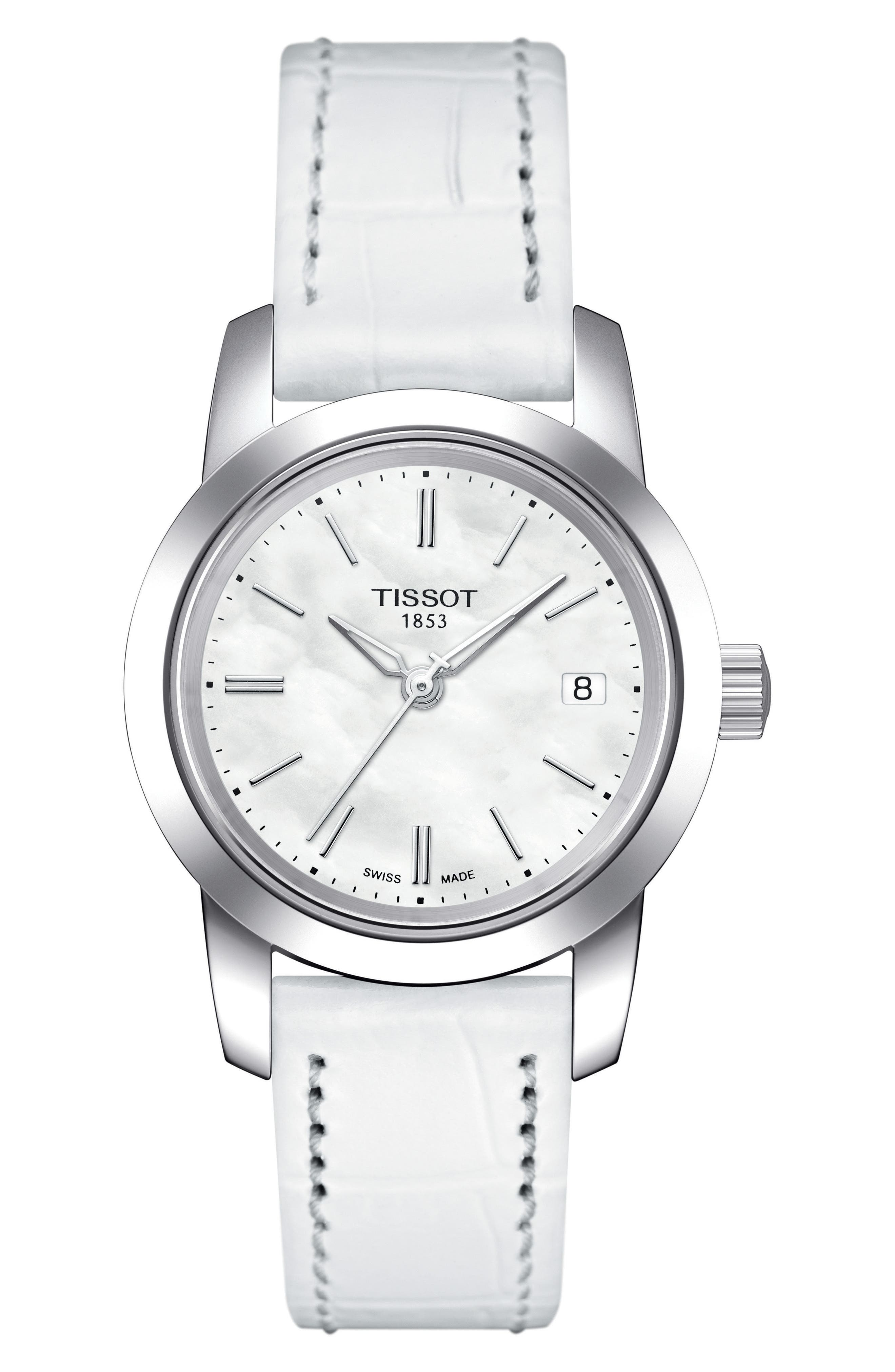 Classic Dream Leather Strap Watch, 28mm,                         Main,                         color, White/ Mother Of Pearl/ Silver