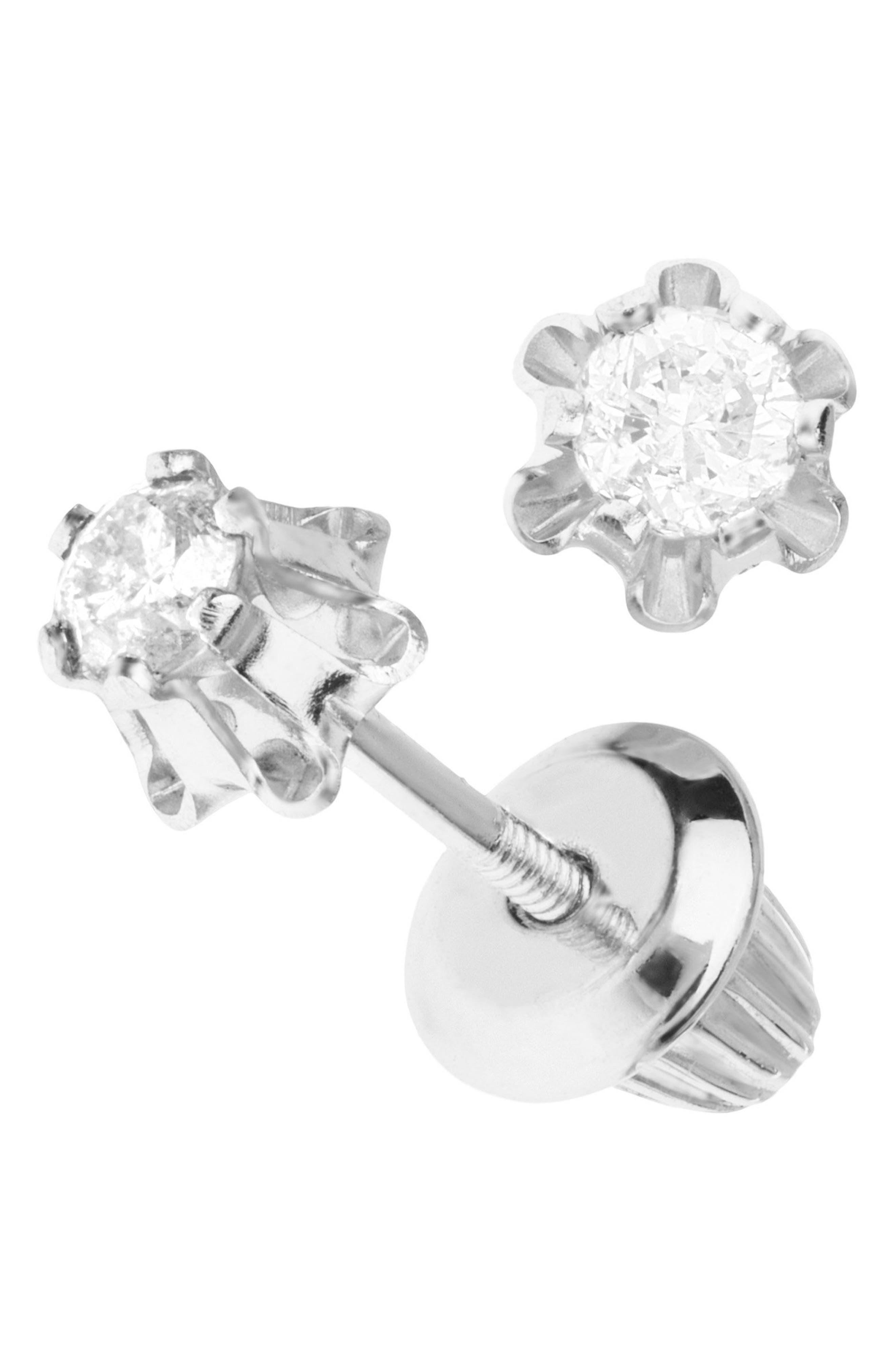 14k White Gold & Diamond Earrings,                             Alternate thumbnail 2, color,                             White