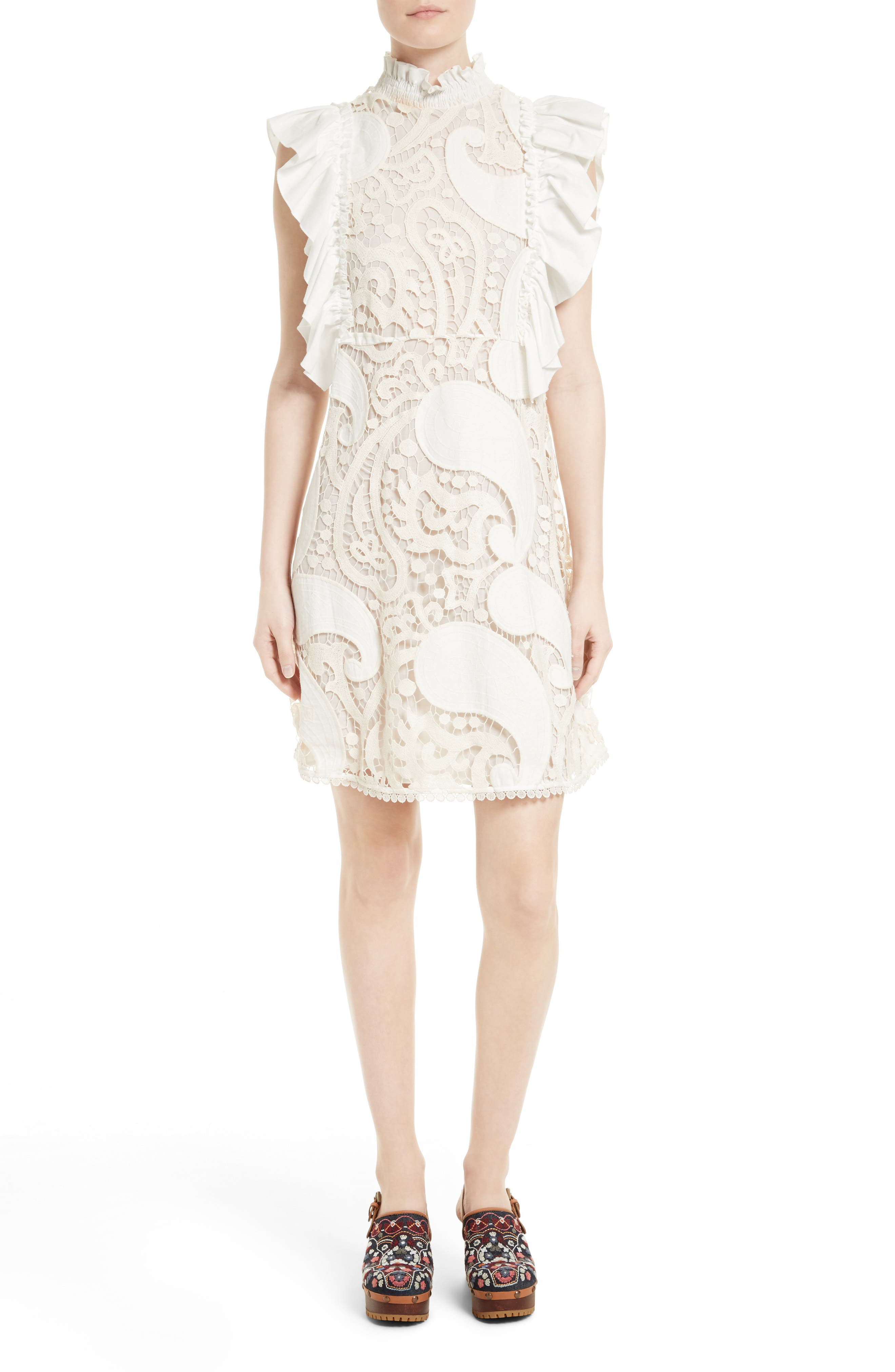 See by Chloé Ruffle Lace Shift Dress