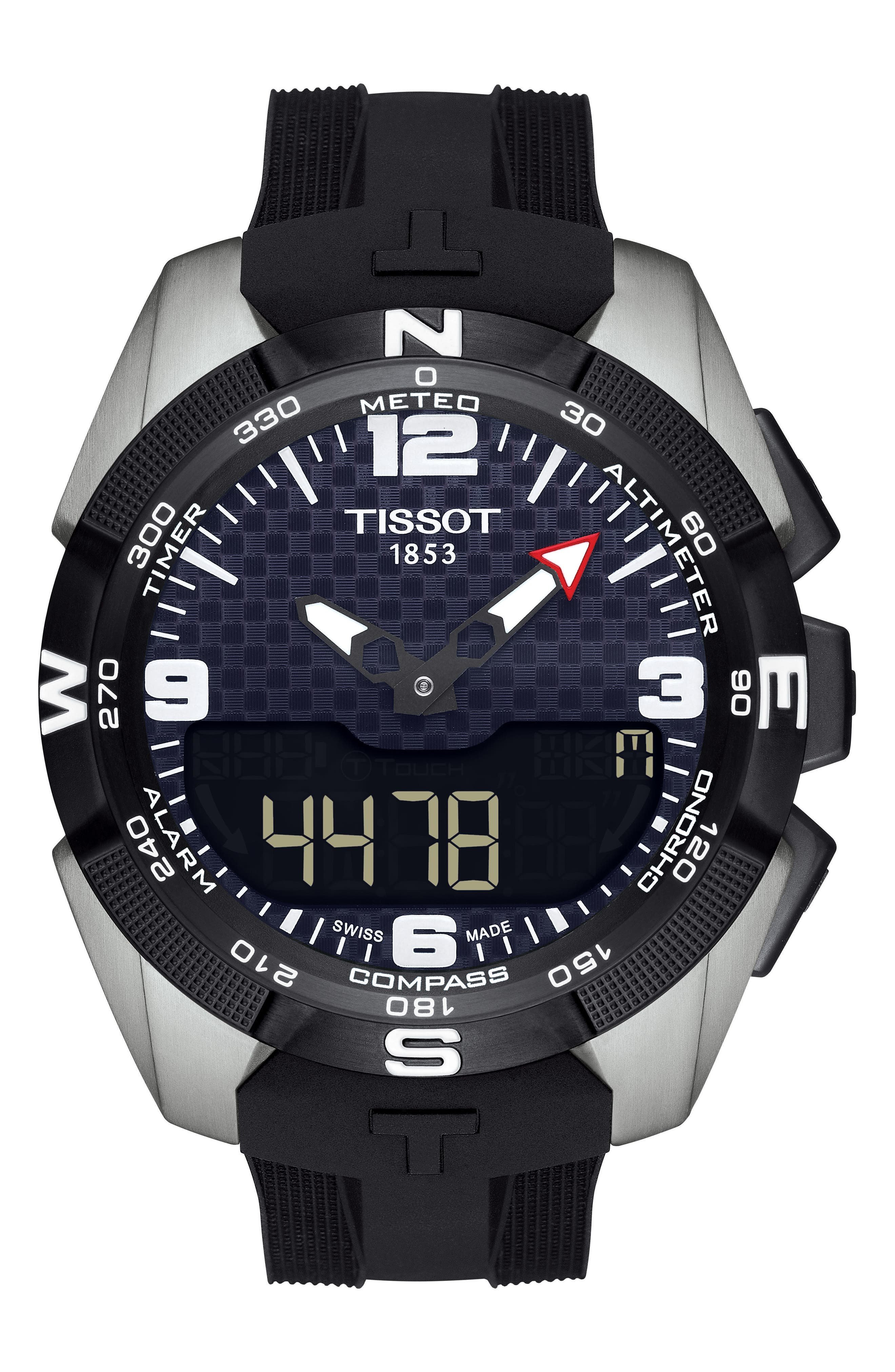 T-Touch Expert Solar Multifunction Smartwatch, 45mm,                         Main,                         color, Black/ Silver