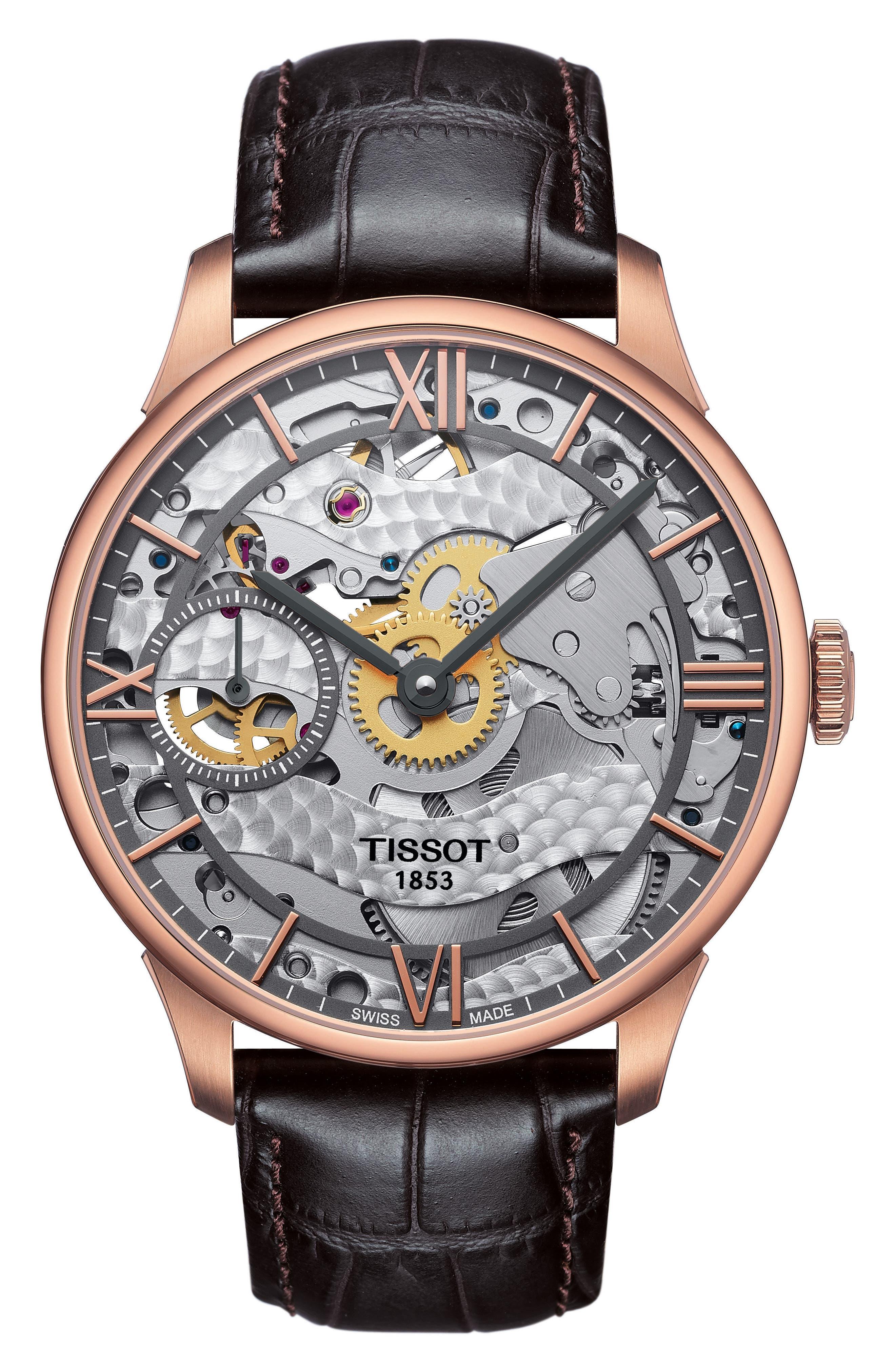 T-Complication Squellette Mechanical Watch, 42mm,                         Main,                         color, Brown/ Rose Gold