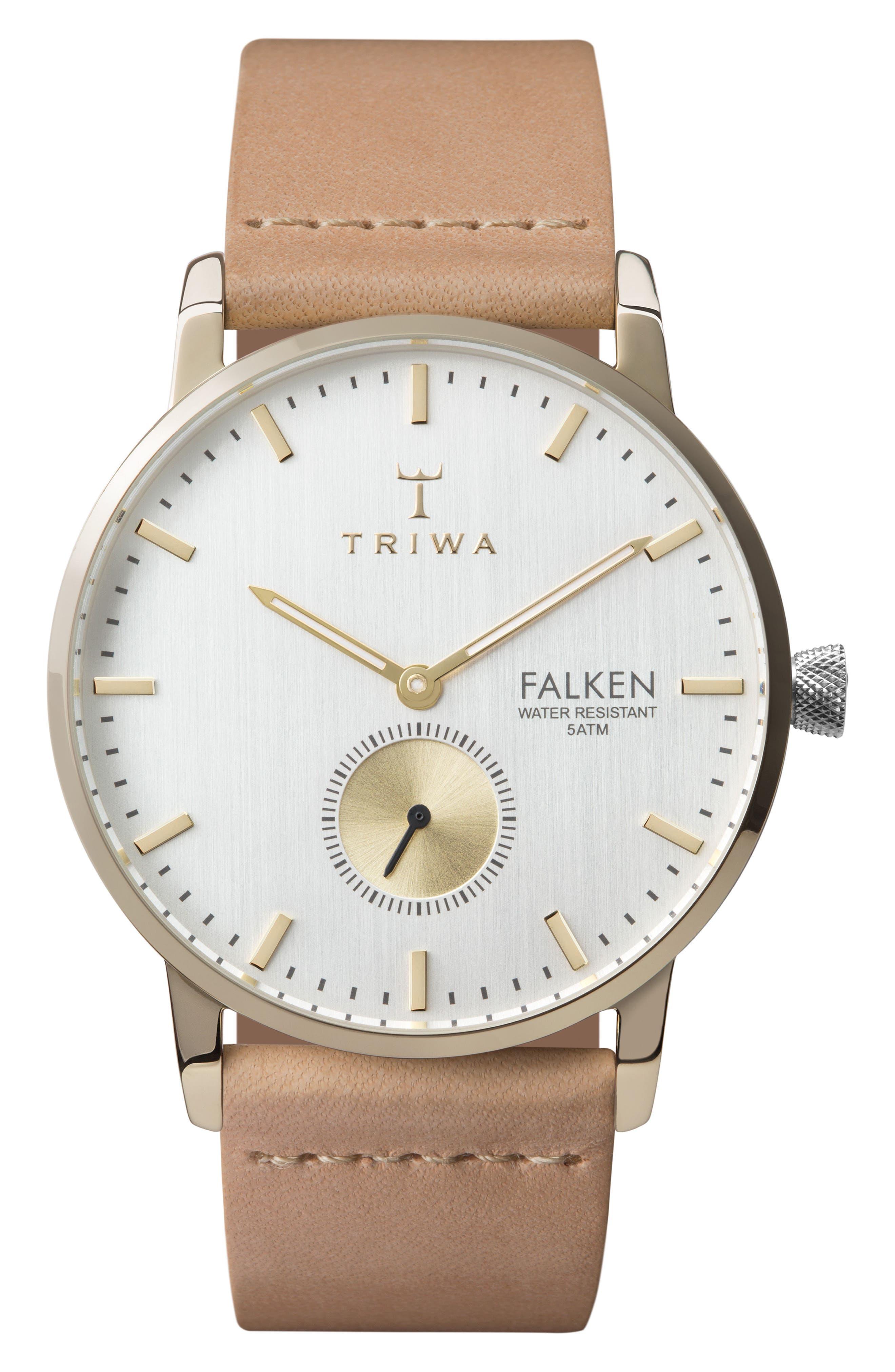 Birch Falken Organic Leather Strap Watch, 38mm,                         Main,                         color, Tan/ White/ Gold