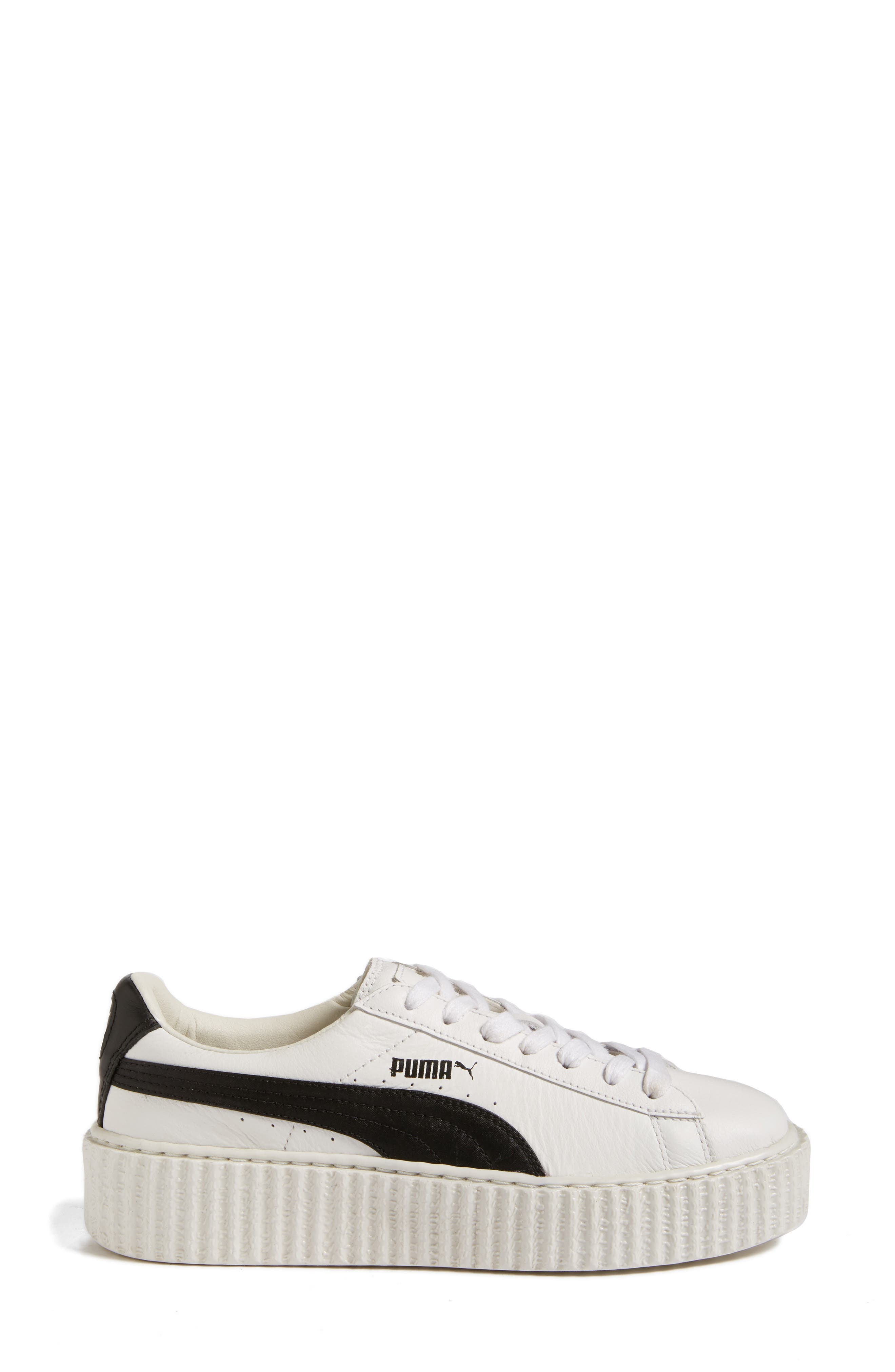 FENTY PUMA by Rihanna Creeper Sneaker,                             Alternate thumbnail 3, color,                             White Leather