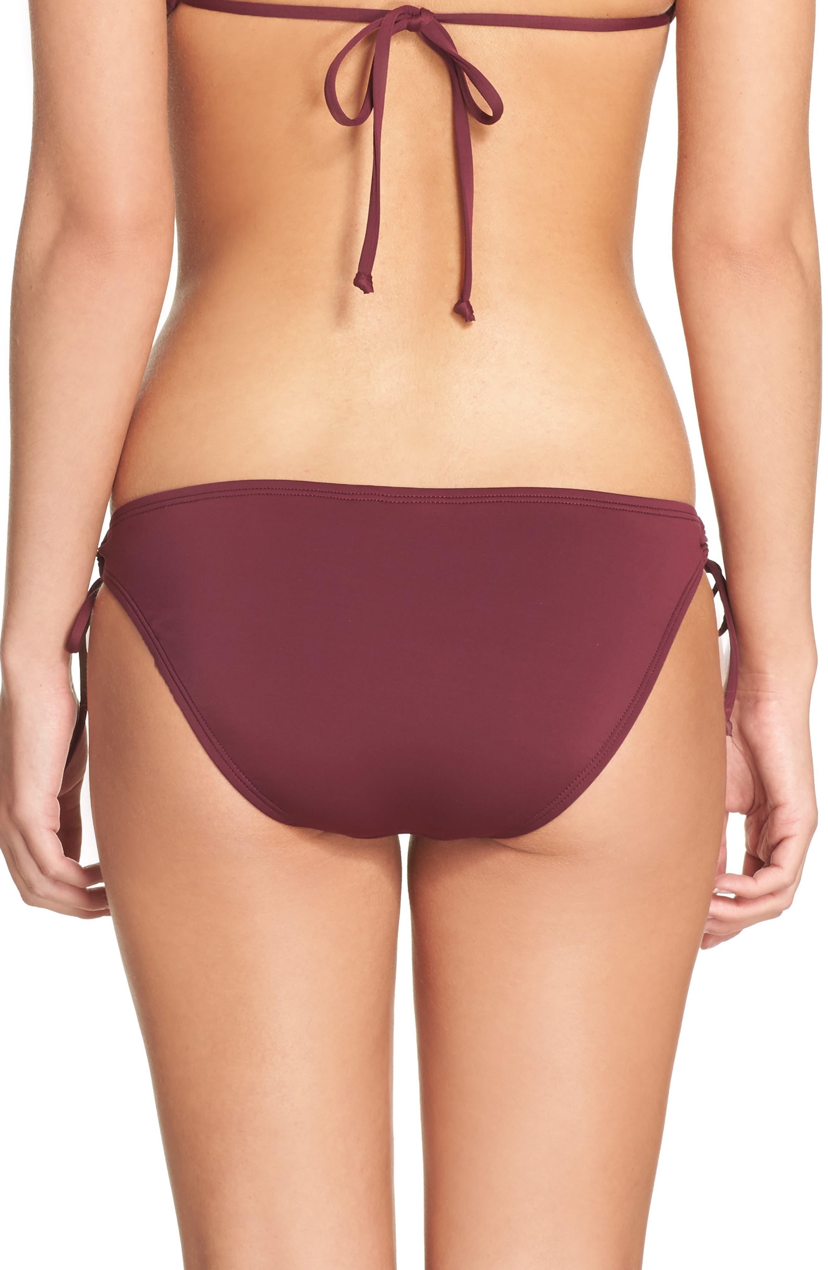 Side Tie Bikini Bottoms,                             Alternate thumbnail 2, color,                             Burgundy