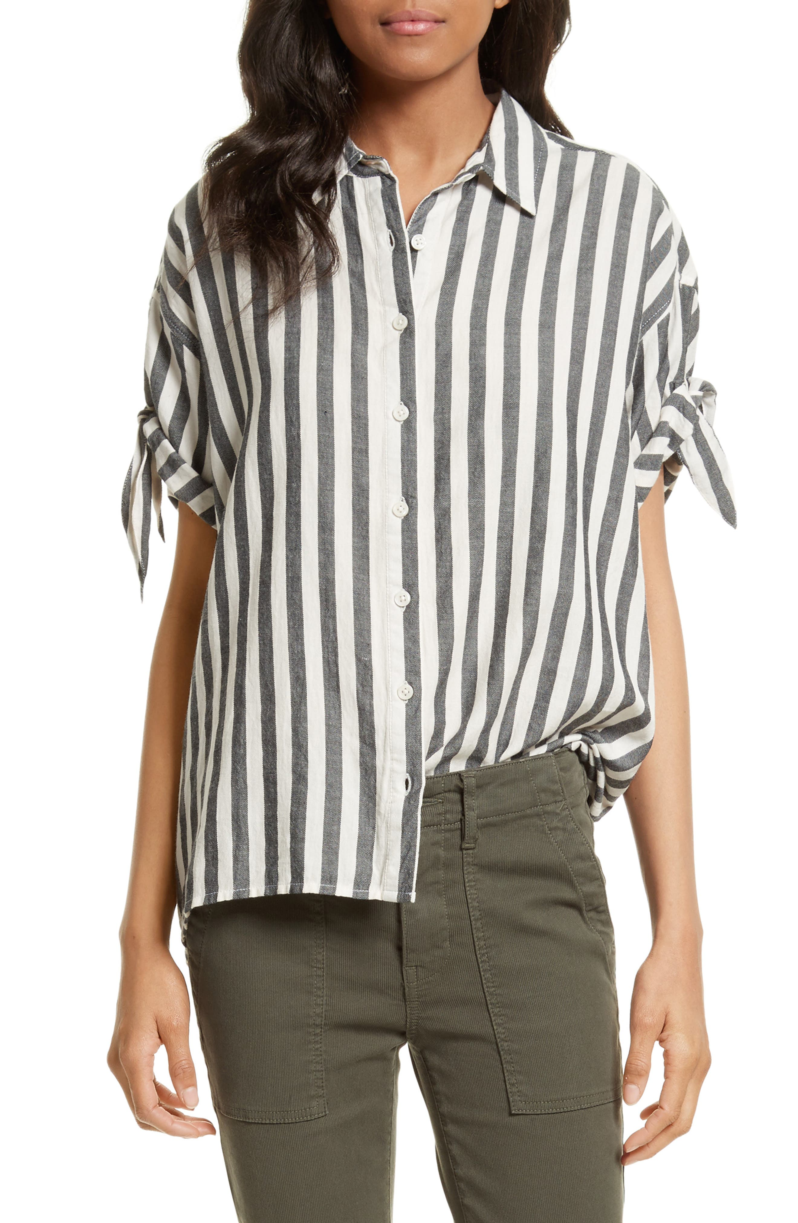 The Tie Sleeve Shirt,                         Main,                         color, Black And White Stripe