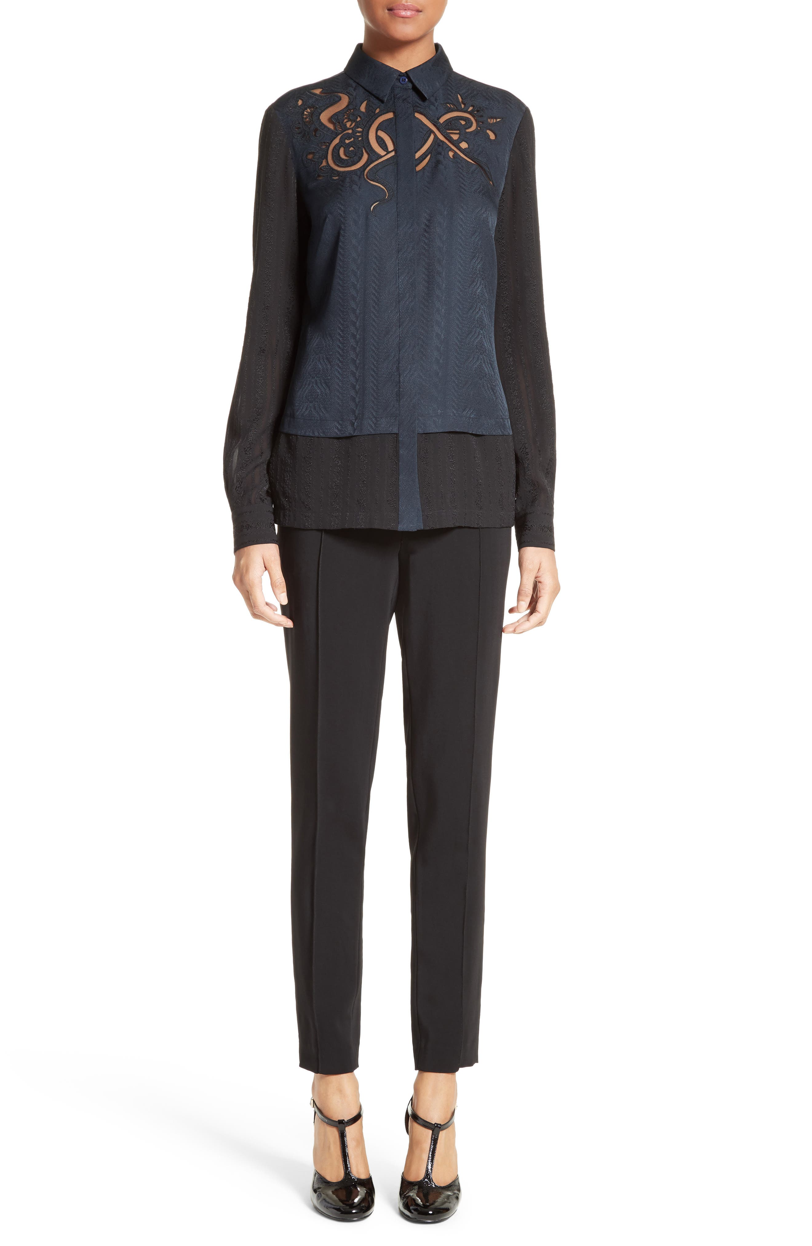 Embroidered Silk Jacquard Blouse,                             Alternate thumbnail 7, color,                             Midnight