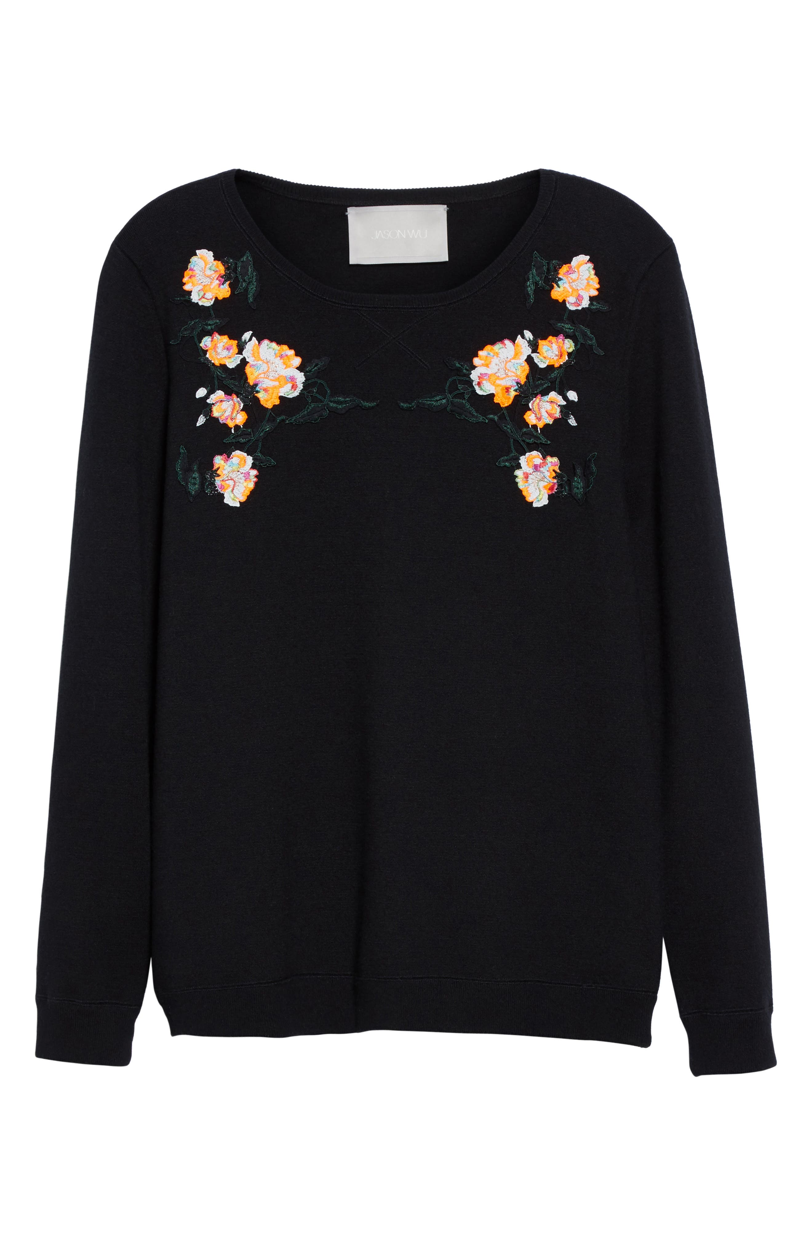 Floral Embroidered Merino Wool Blend Sweater,                             Alternate thumbnail 4, color,                             Black