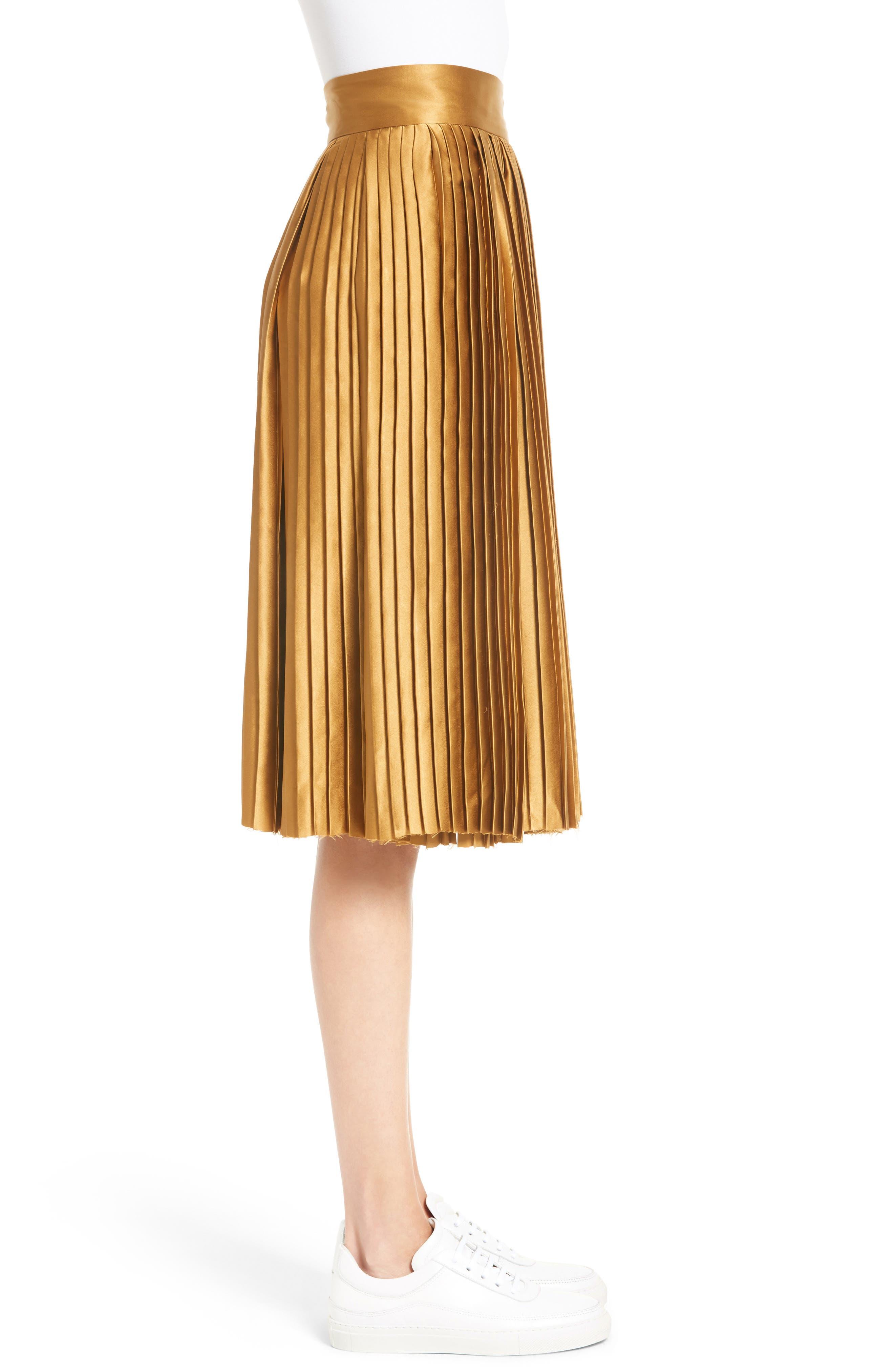 Gamil Pleated Silk Skirt,                             Alternate thumbnail 3, color,                             Bone Brown