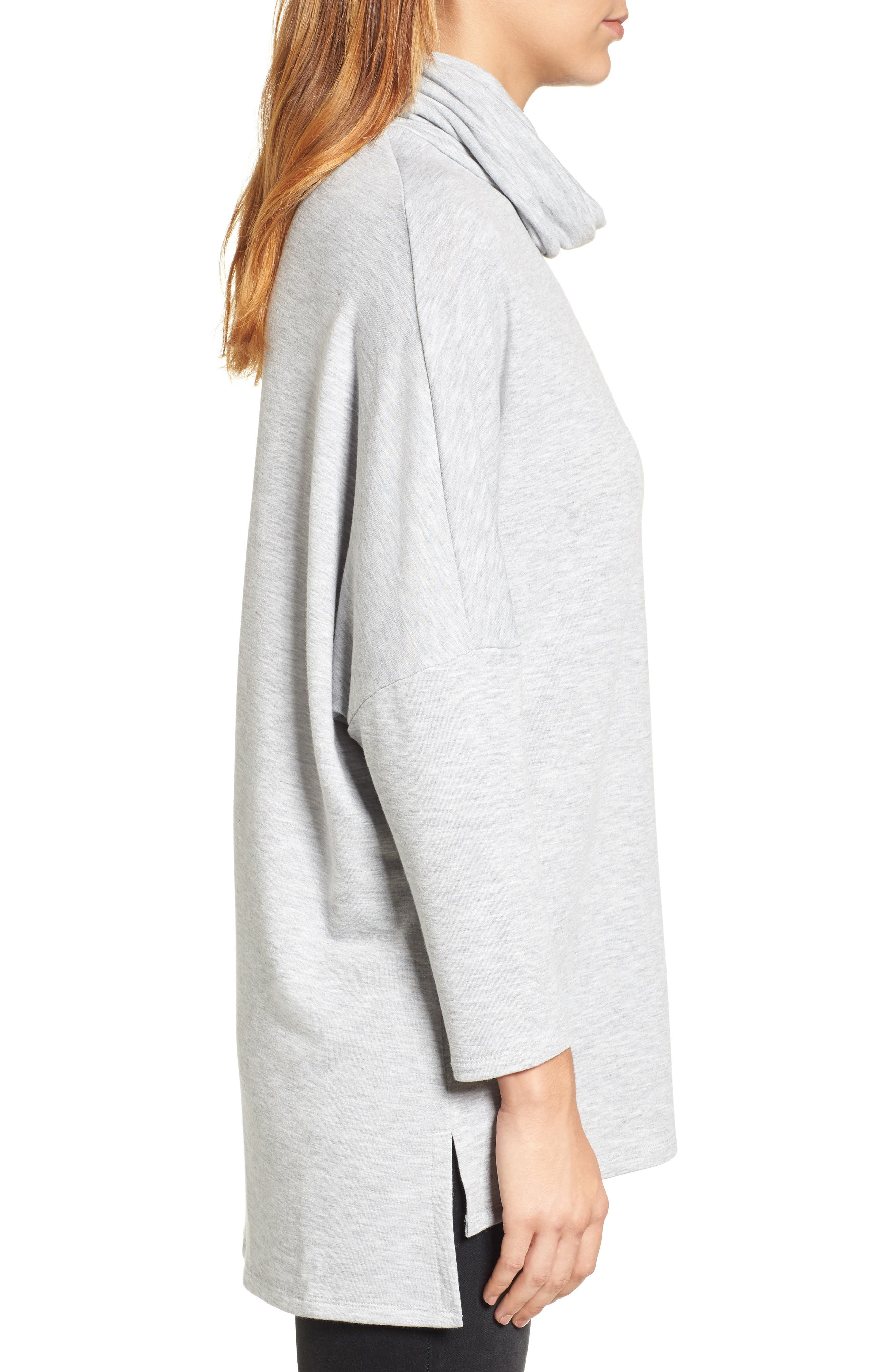 High/Low Tunic,                             Alternate thumbnail 3, color,                             Heather Grey