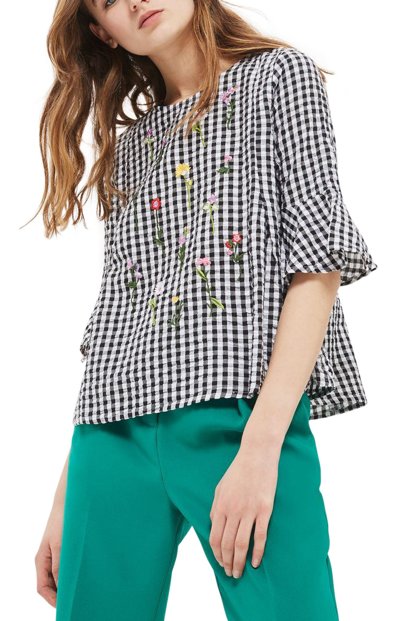 Alternate Image 1 Selected - Topshop Embroidered Gingham Top
