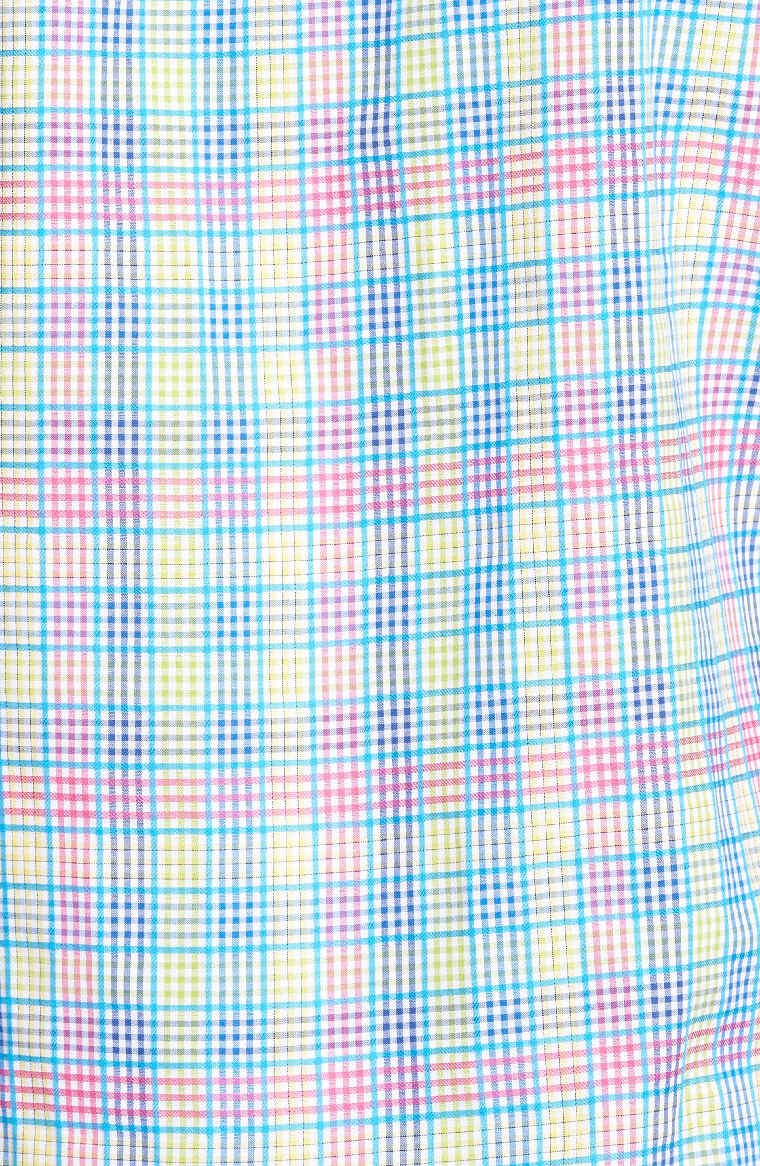 Lemon Plaid Sport Shirt,                             Alternate thumbnail 5, color,                             Blue/ Lime