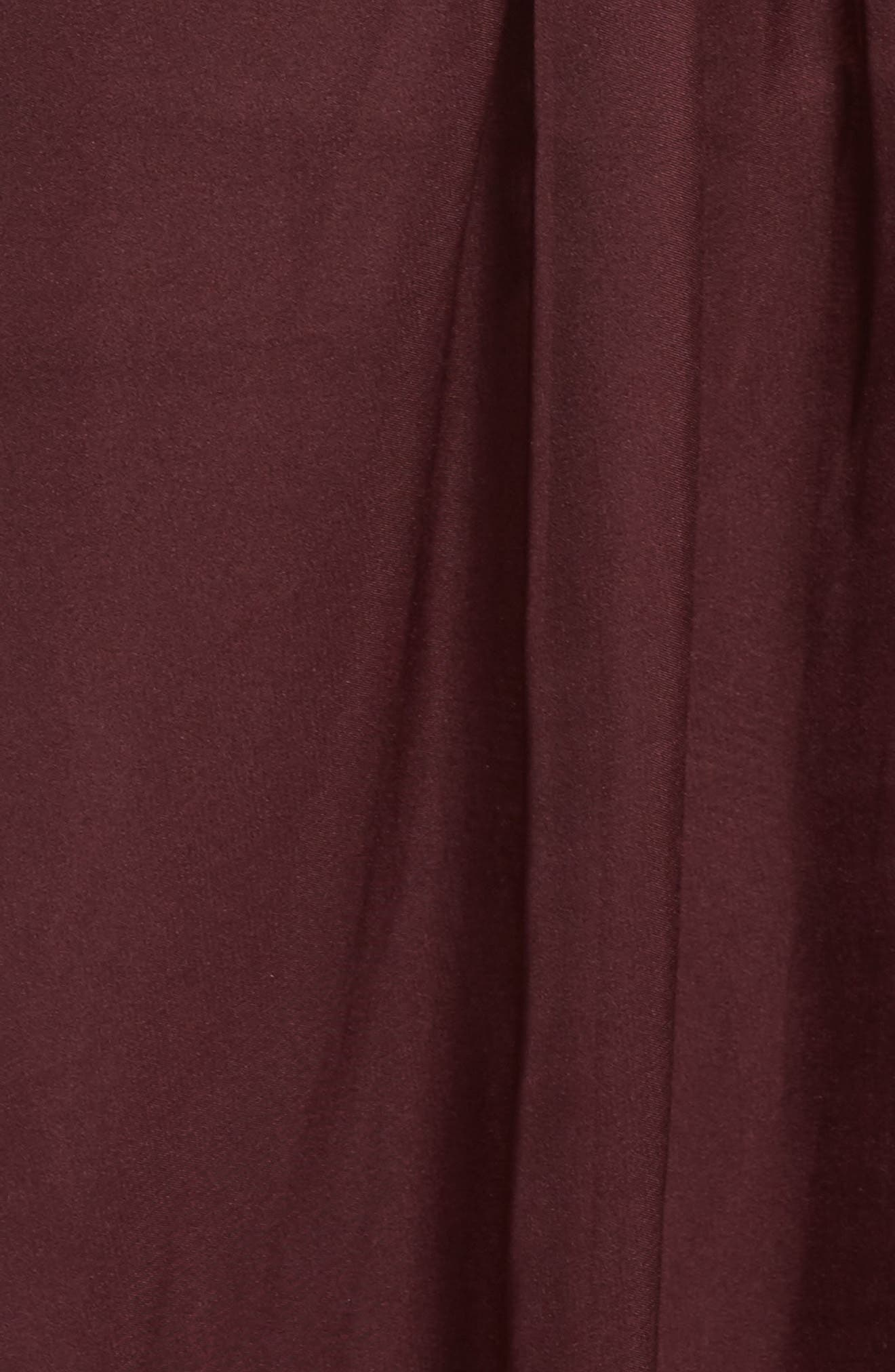 Beaded Bodice Strapless Chiffon Gown,                             Alternate thumbnail 5, color,                             Burgundy