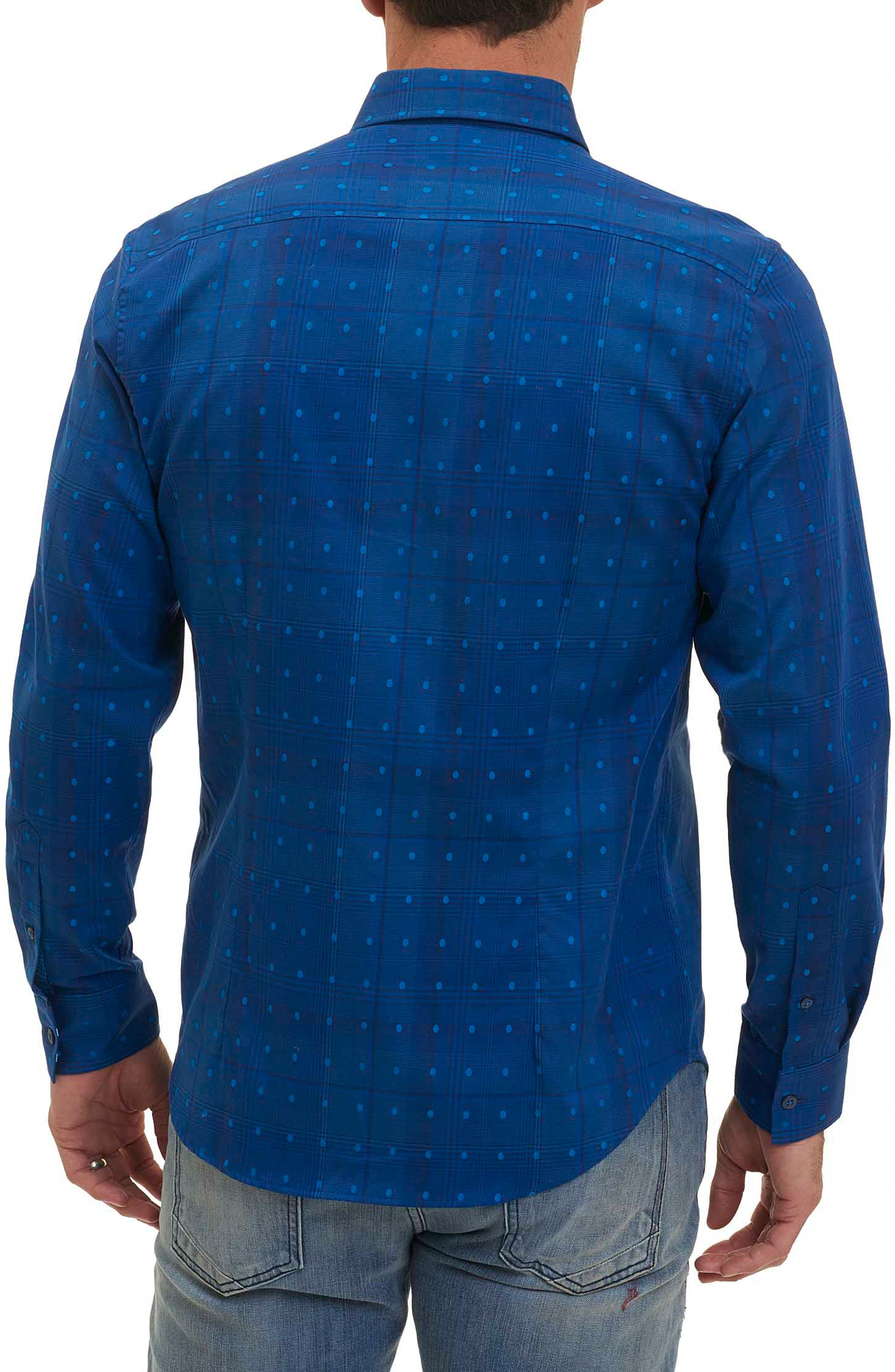 Pete Tailored Fit Print Sport Shirt,                             Alternate thumbnail 2, color,                             Navy