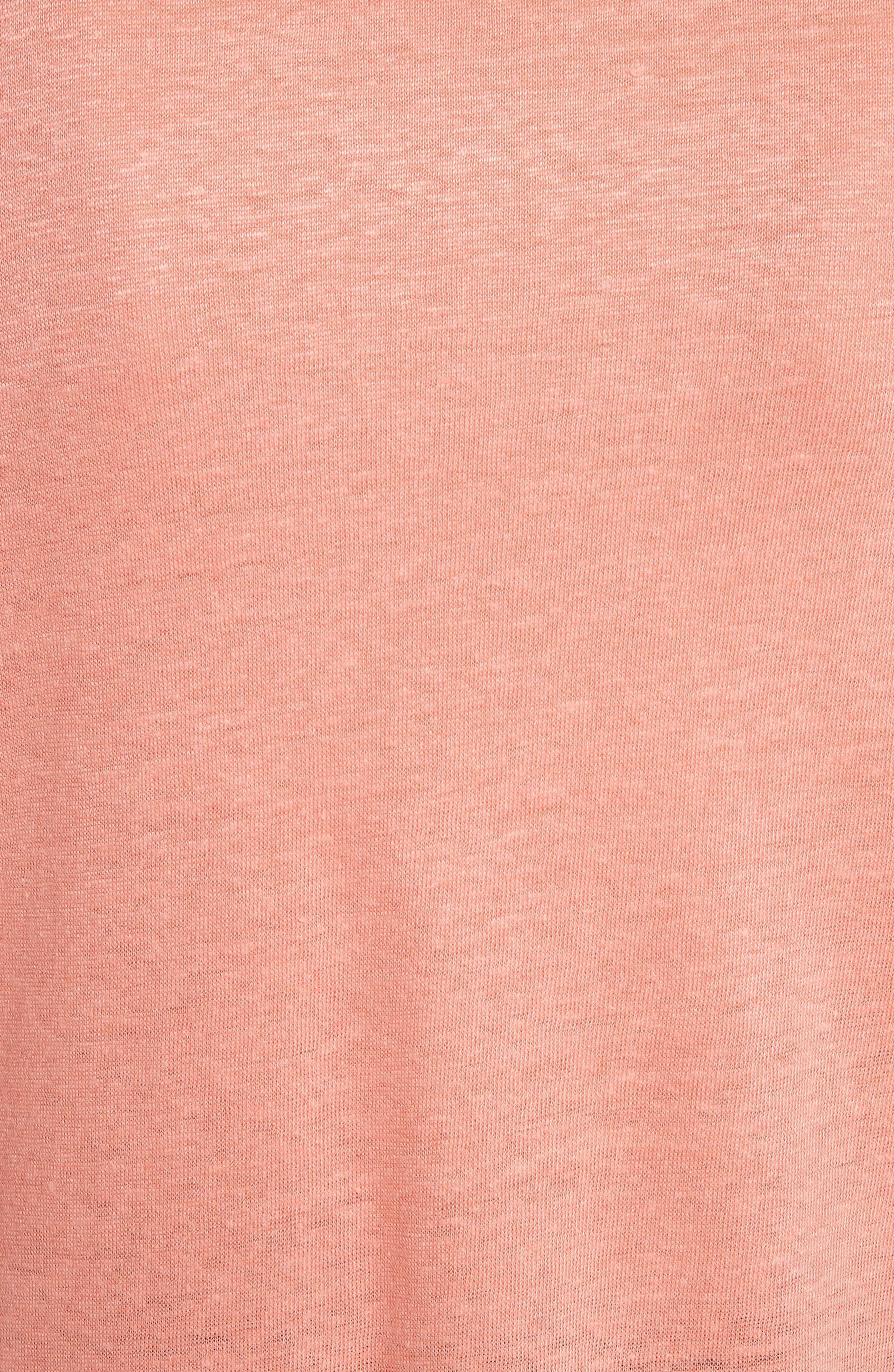 Harlaa Square Cut Linen Tee,                             Alternate thumbnail 5, color,                             Coral