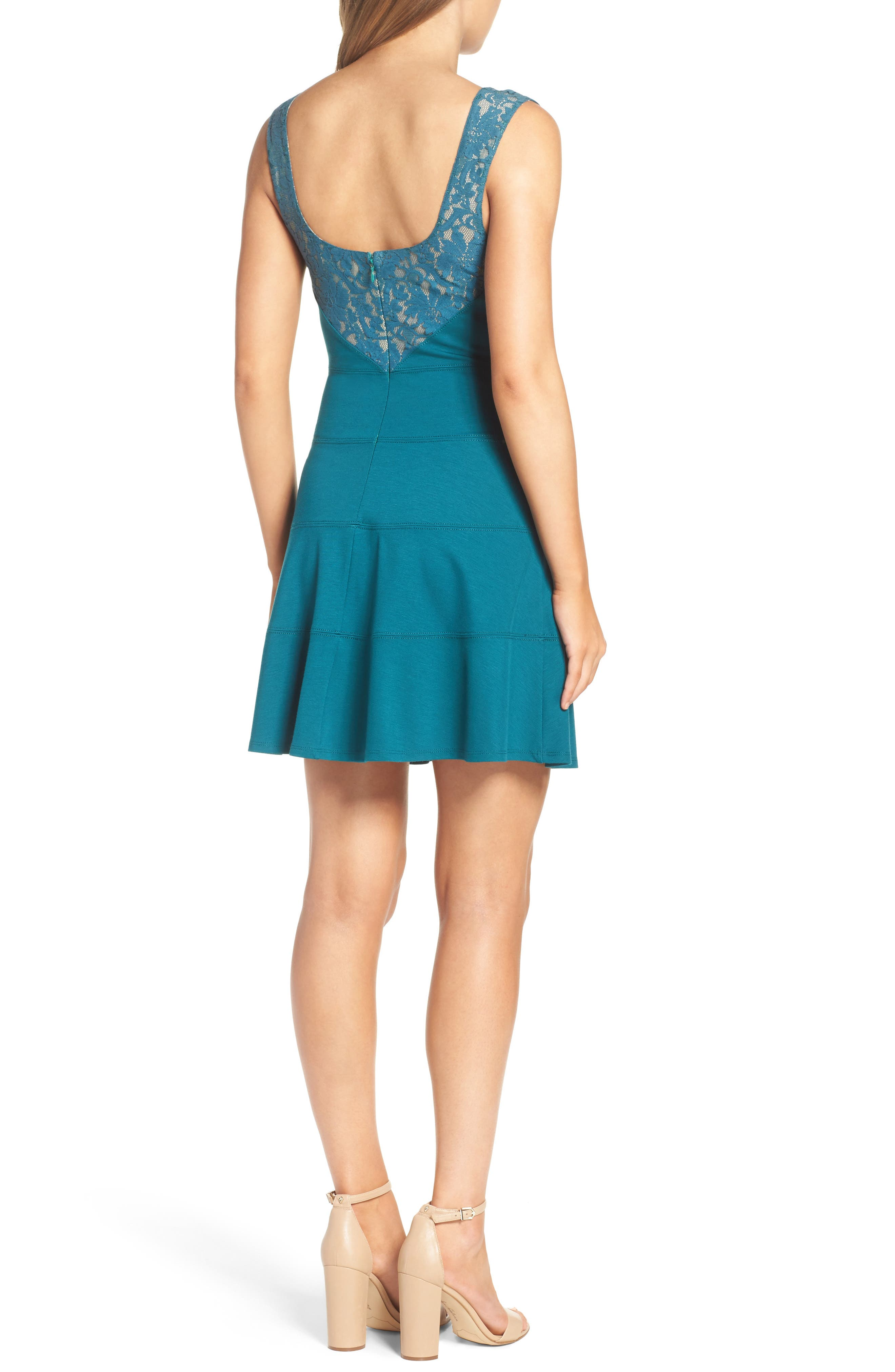 Te Quiero Fit & Flare Dress,                             Alternate thumbnail 3, color,                             Agave