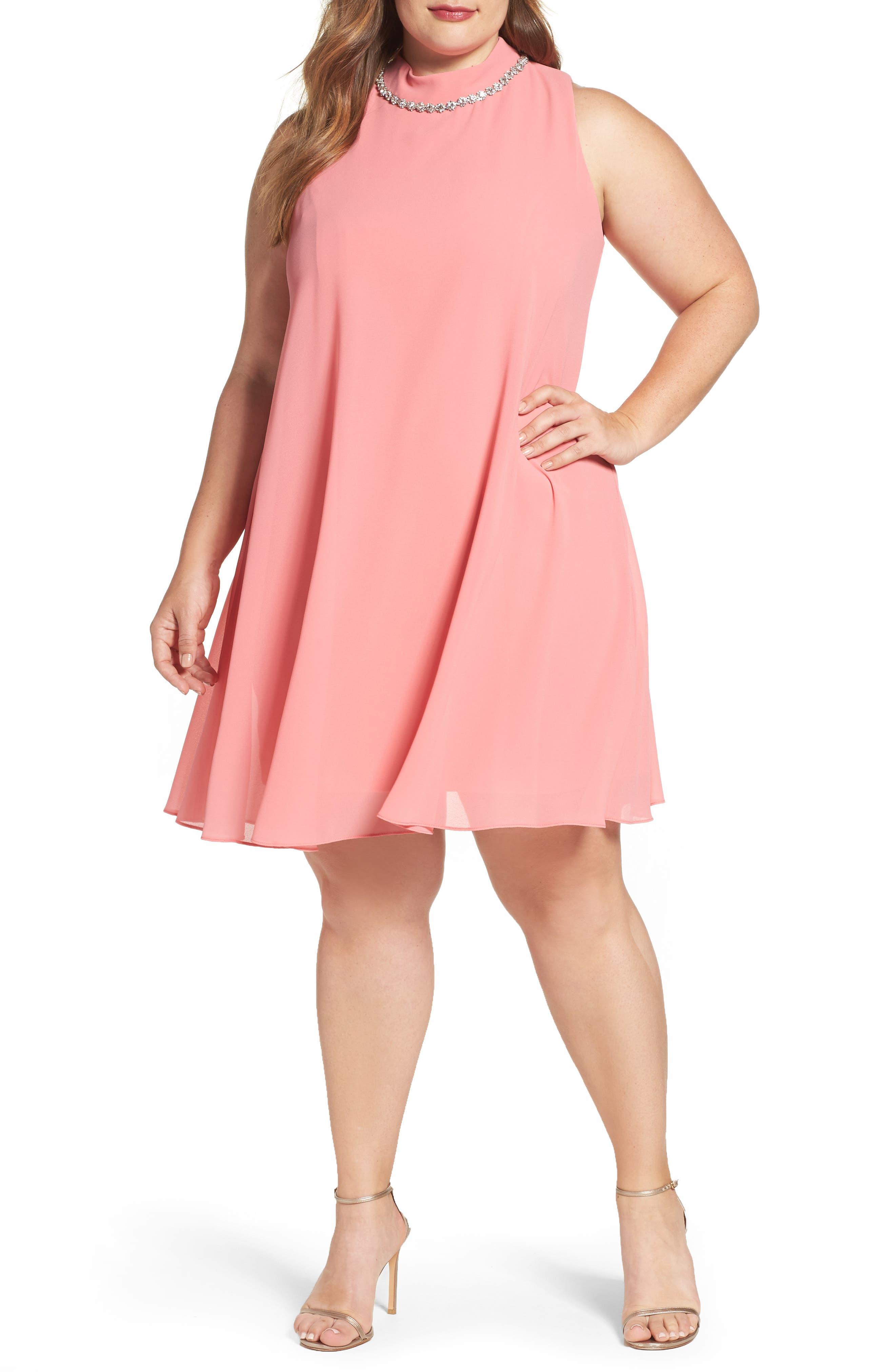 Eliza J Embellished Chiffon Trapeze Dress (Plus Size)