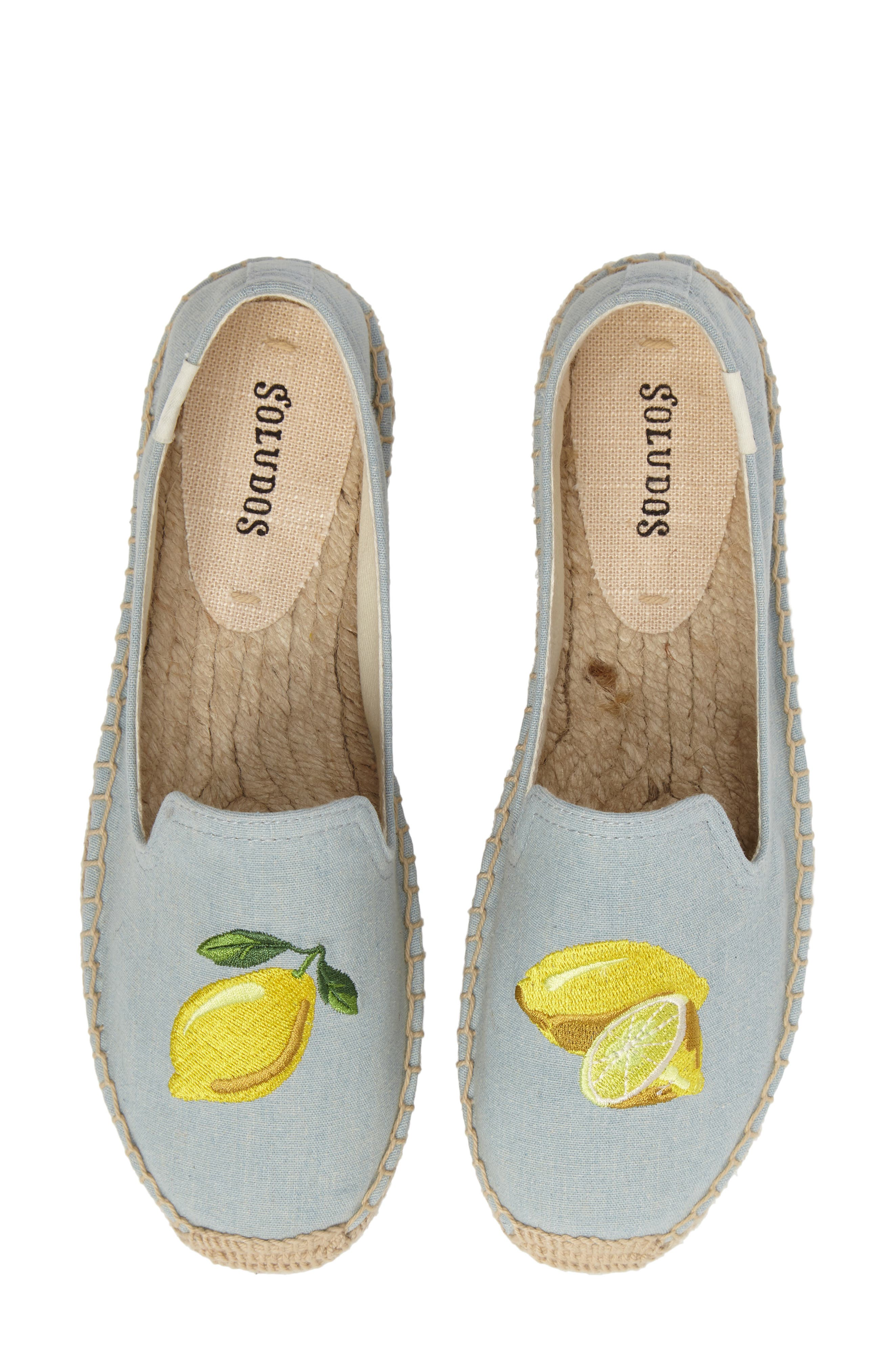 Lemon Espadrille Flat,                             Main thumbnail 1, color,                             Chambray