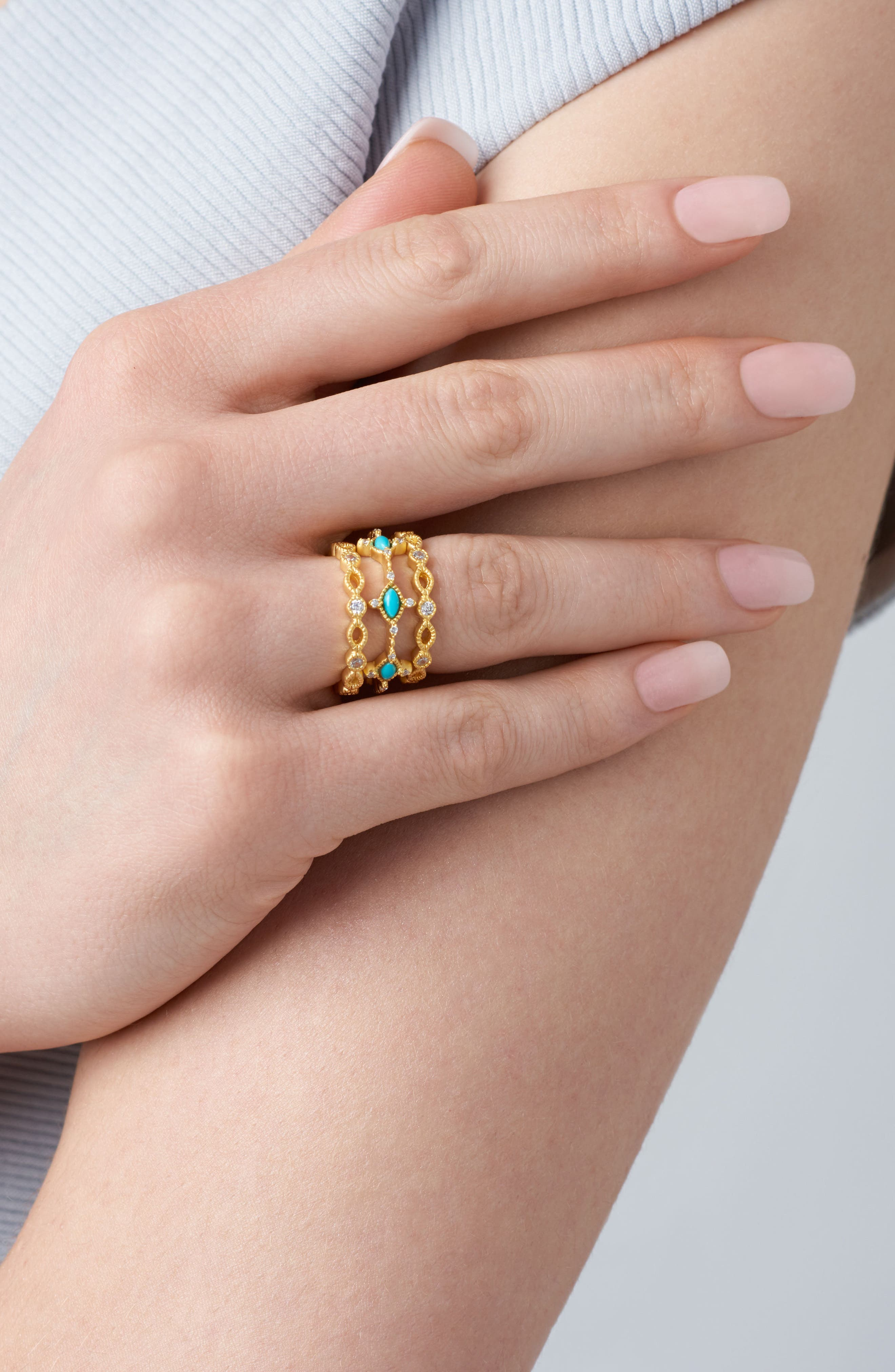 Amazonian Allure Set of 3 Band Rings,                             Alternate thumbnail 2, color,                             Turquoise
