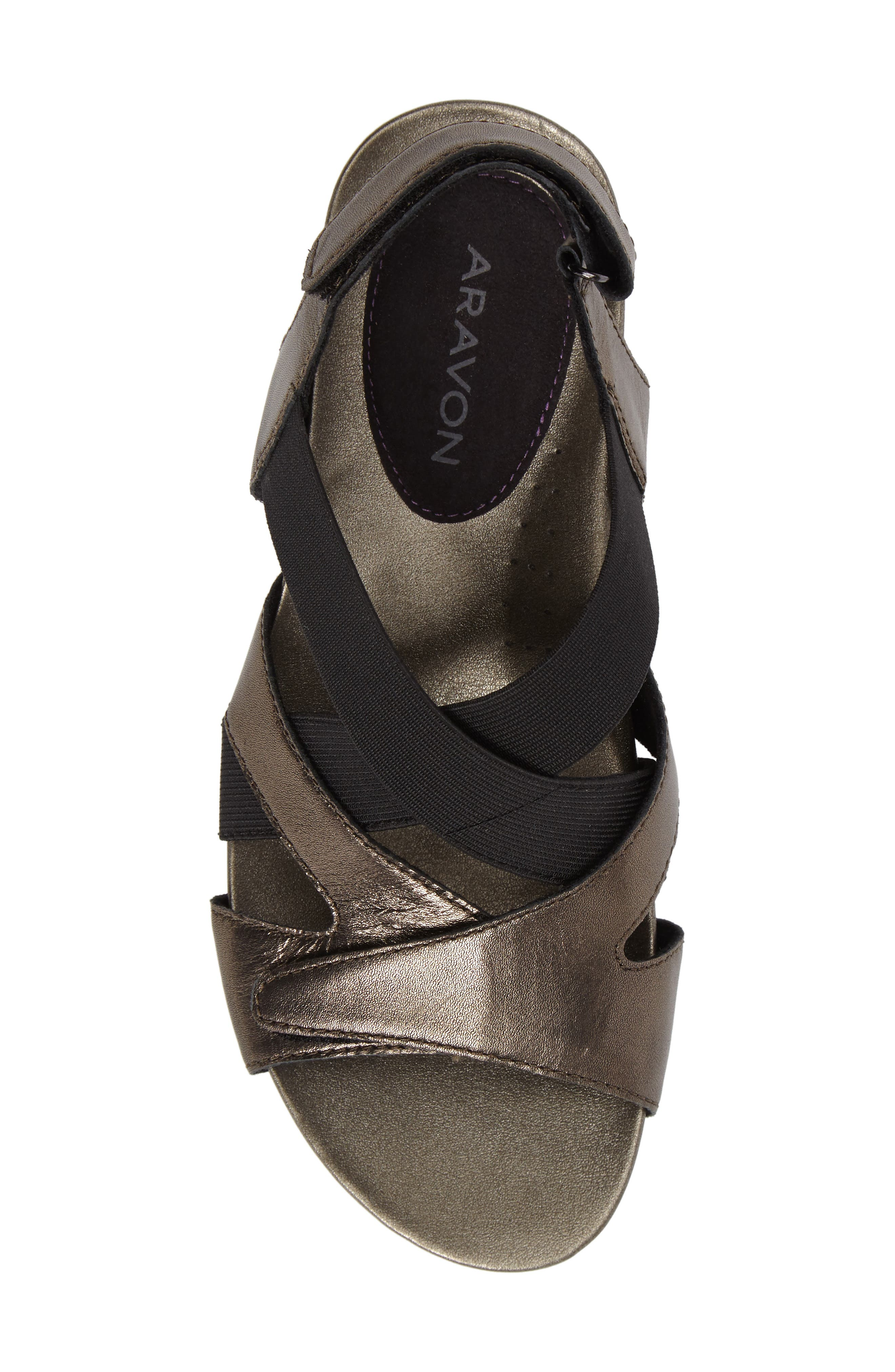 Standon Cross Strap Sandal,                             Alternate thumbnail 5, color,                             Pewter Fabric