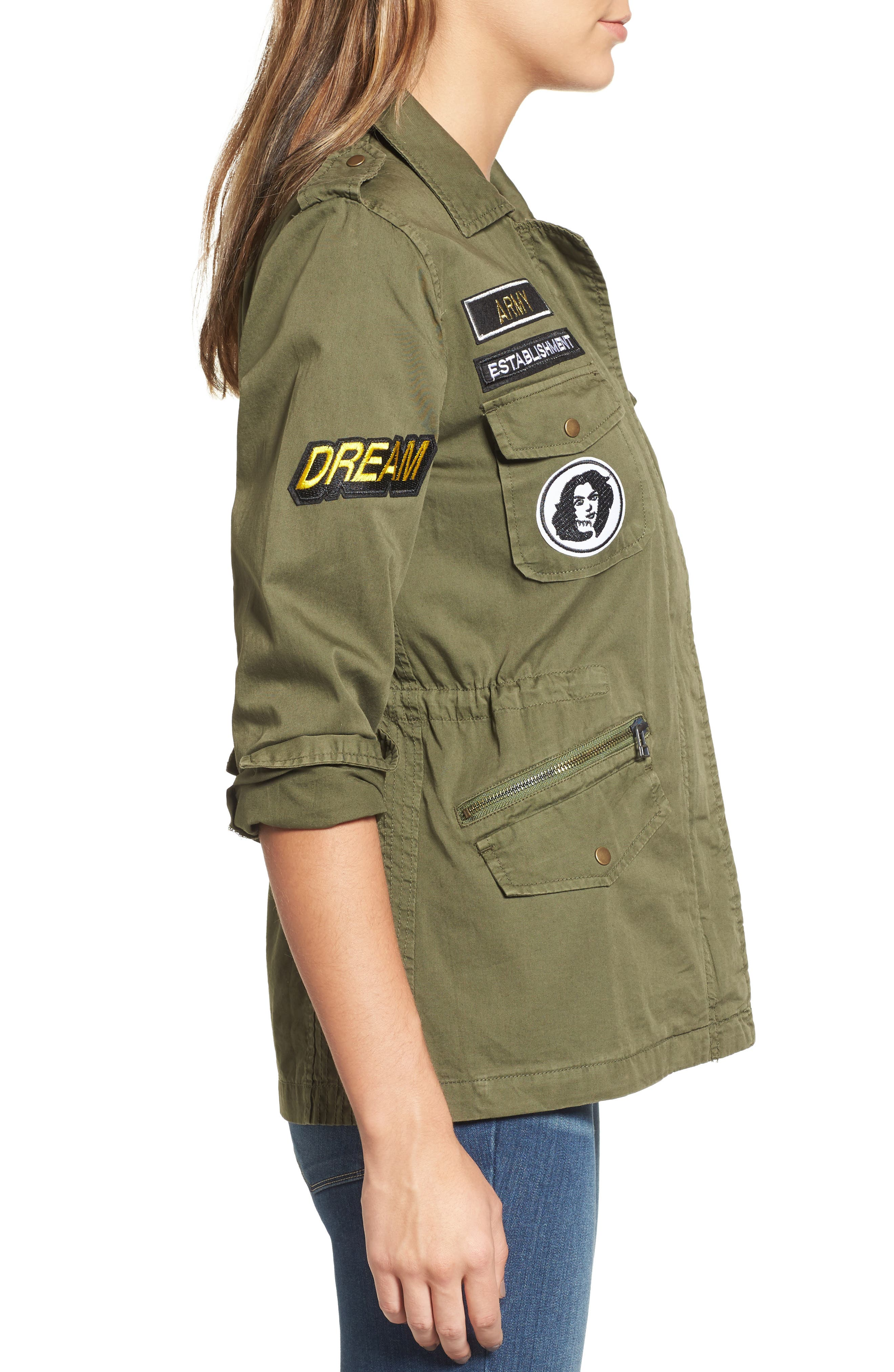 Patched Army Jacket,                             Alternate thumbnail 3, color,                             Forest Green