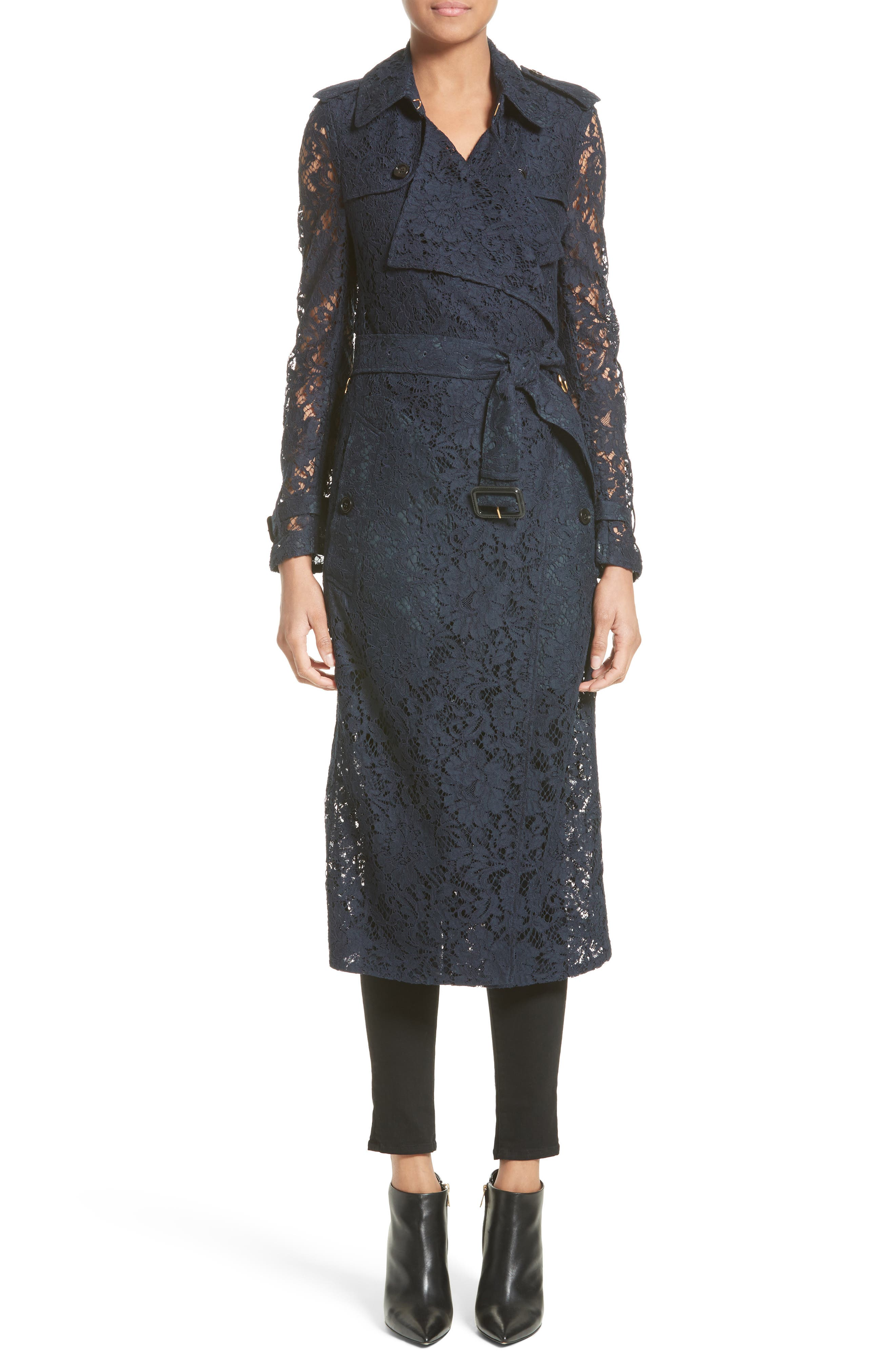 BURBERRY Gracehill Macramé Lace Wrap Trench Coat
