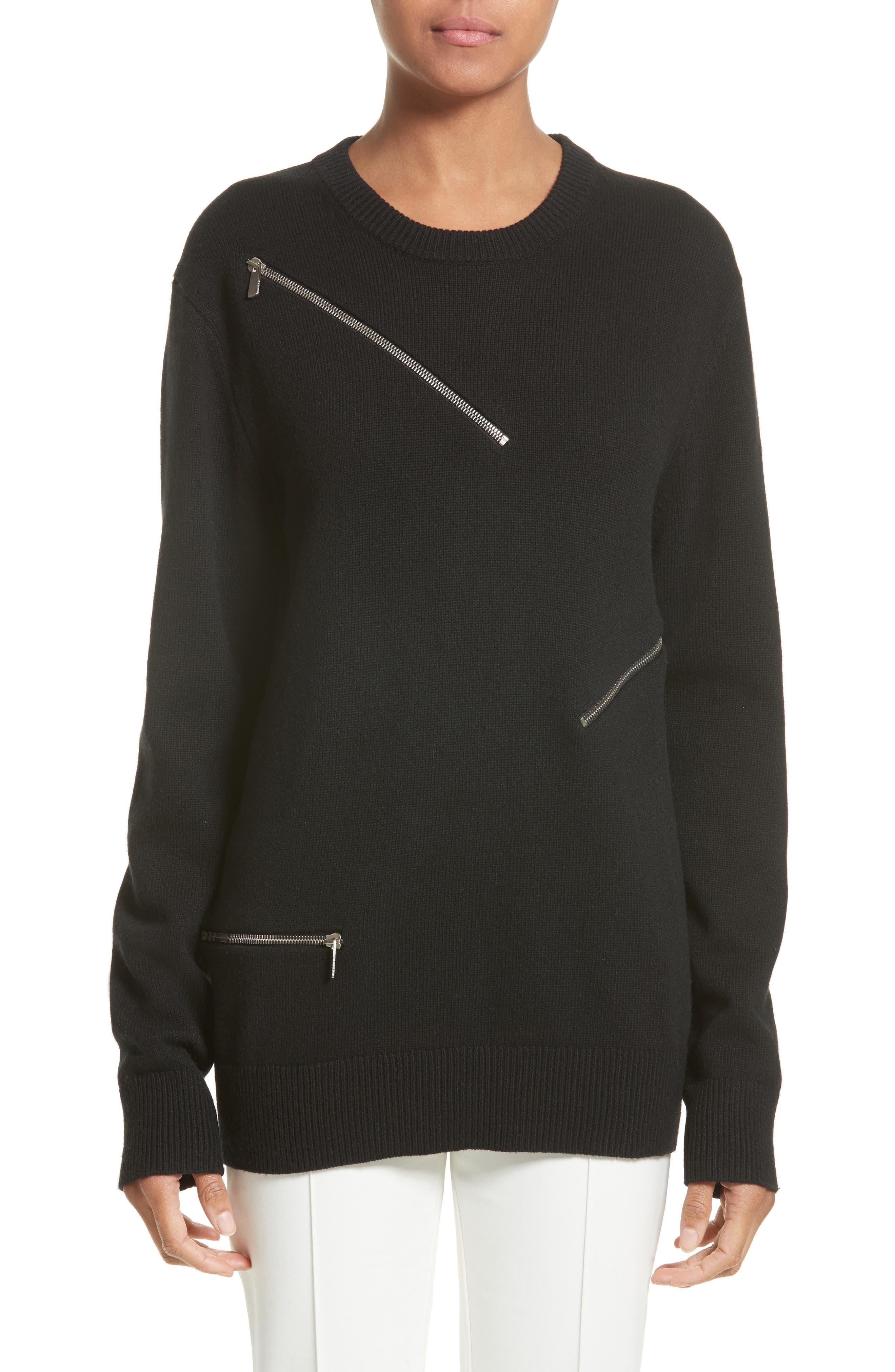 Michael Kors Zip Detail Cashmere & Cotton Sweater