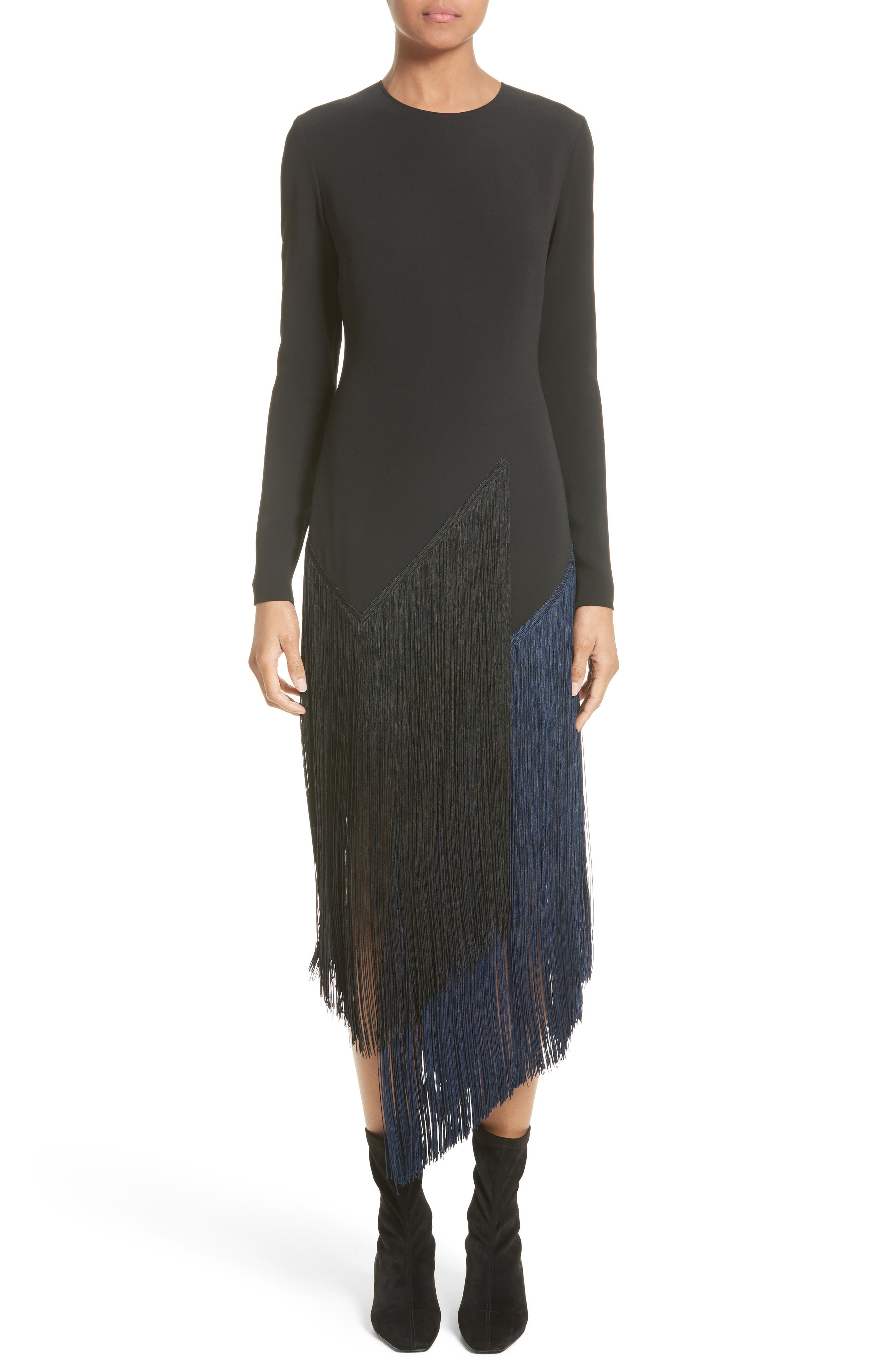 Fringe Skirt Stretch Cady Dress,                         Main,                         color, Black