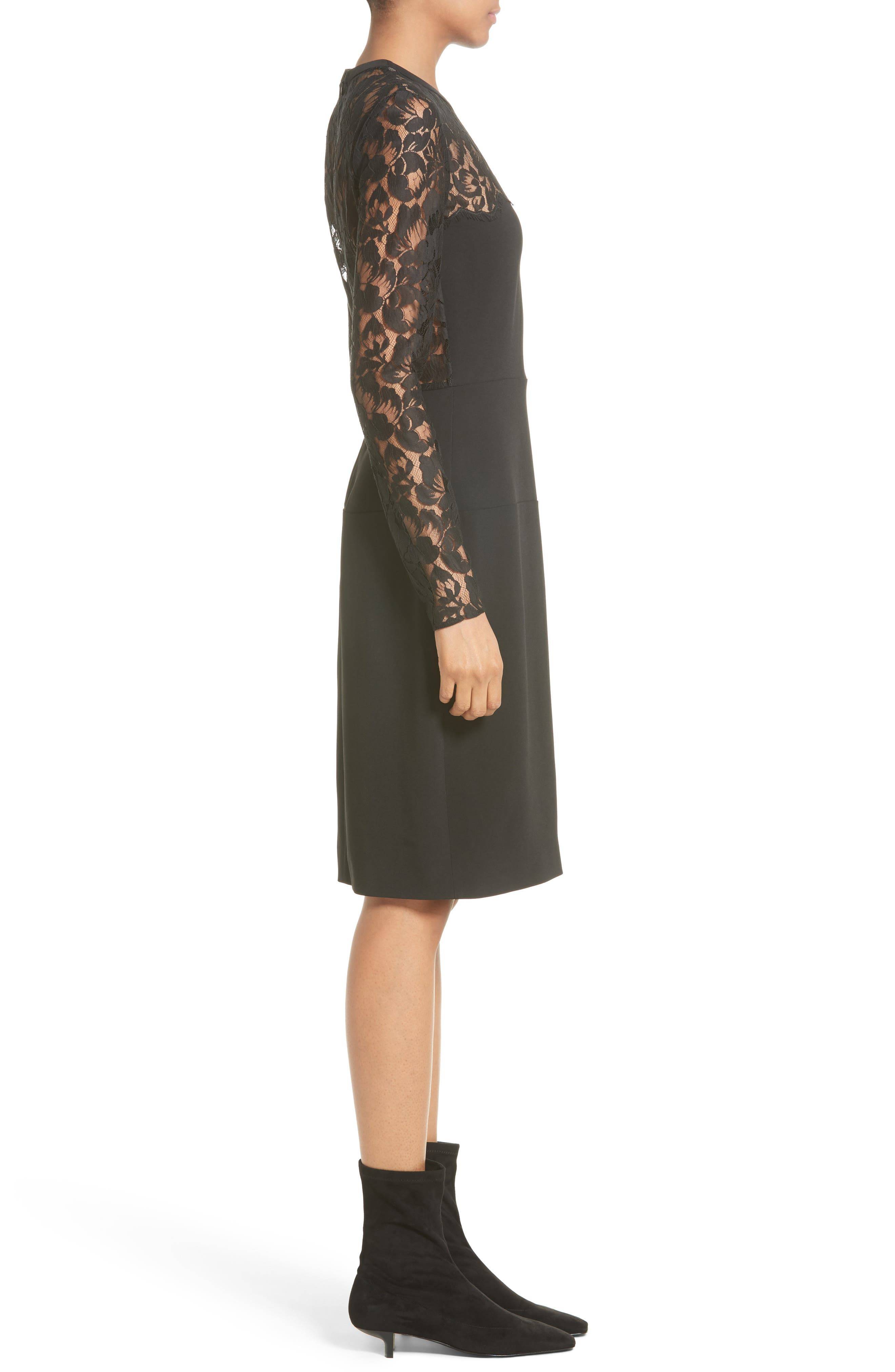 Lace Illusion Sheath Dress,                             Alternate thumbnail 6, color,                             Black