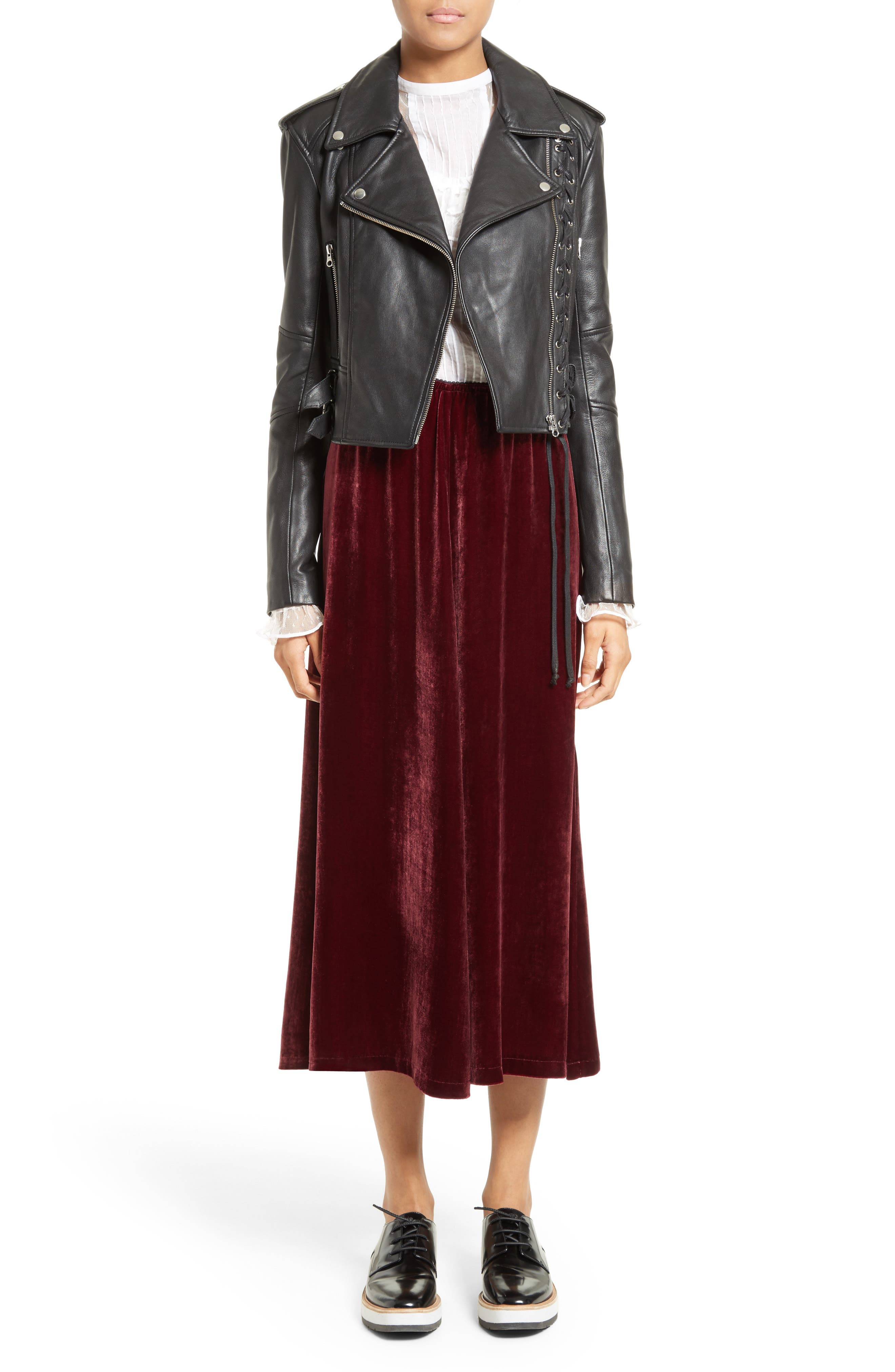 Velvet Midi Skirt,                             Alternate thumbnail 2, color,                             Wine