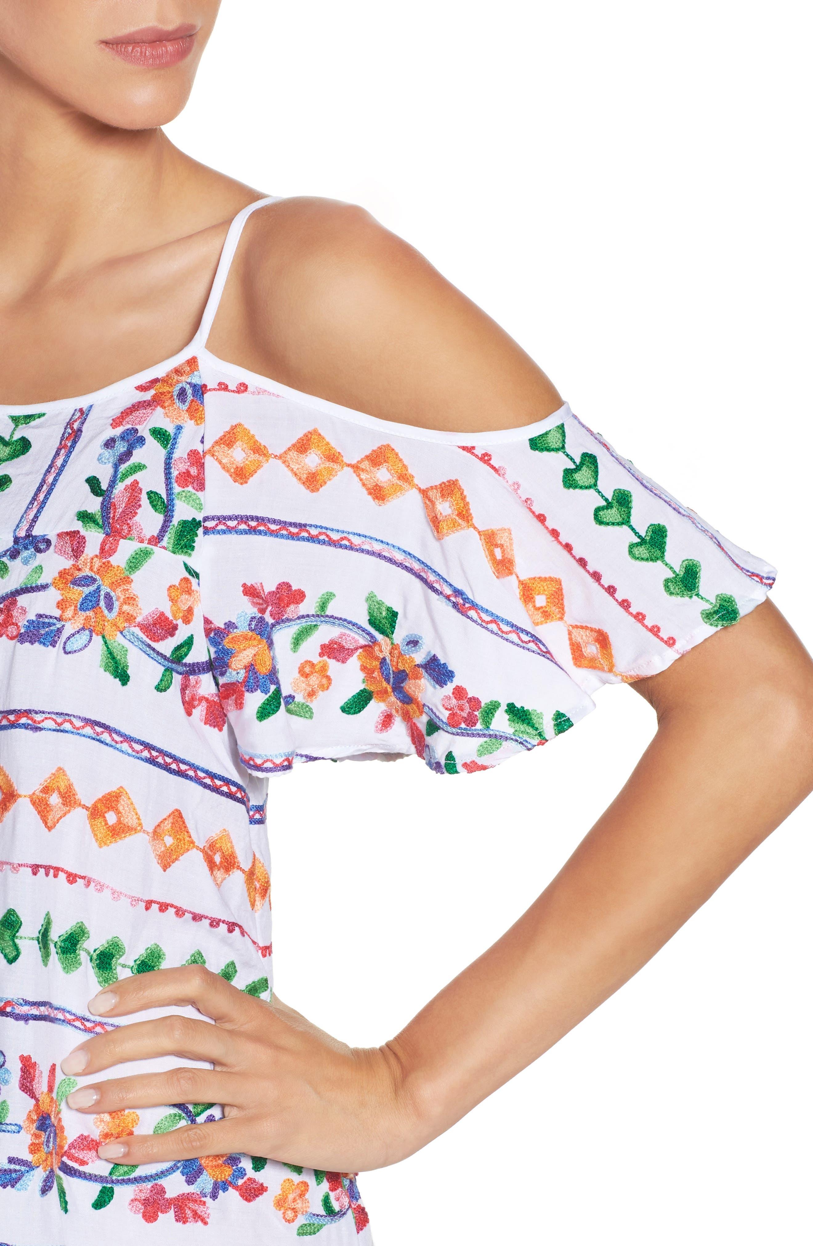 Eden Cover-Up Dress,                             Alternate thumbnail 4, color,                             Coral Multi