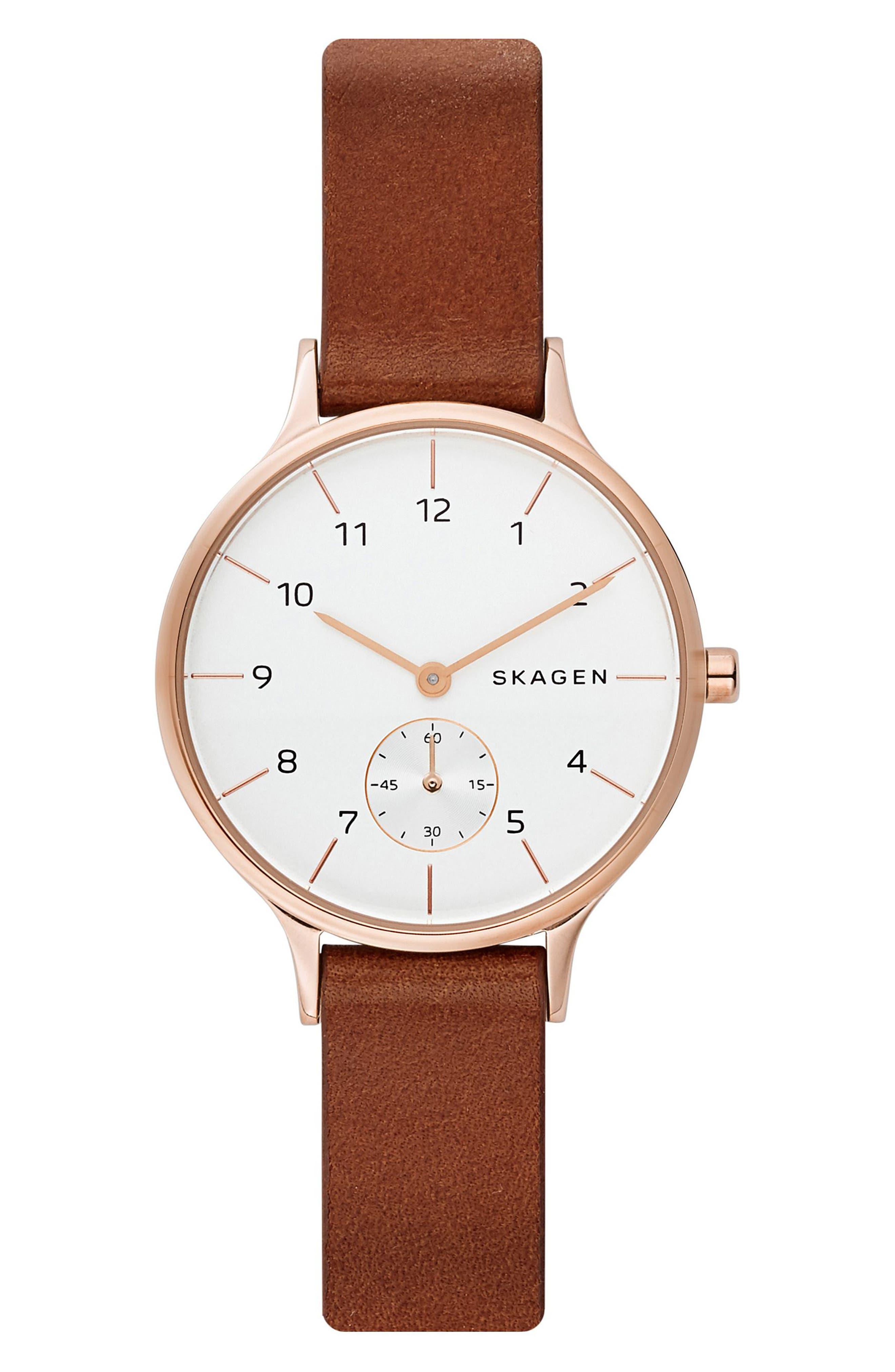 SKAGEN Anita Leather Strap Watch, 34mm