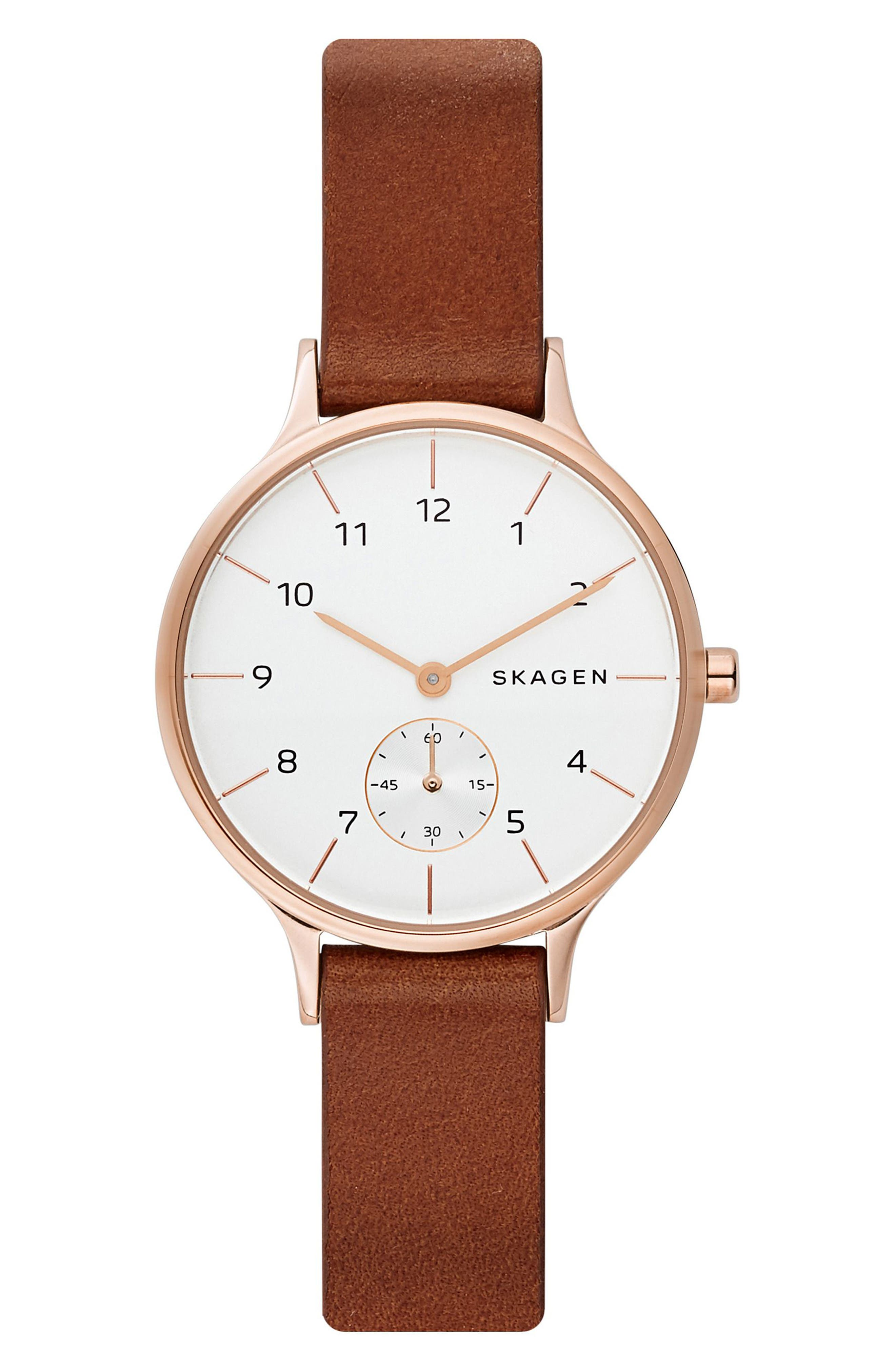 Anita Leather Strap Watch, 34mm,                         Main,                         color, Brown/ White/ Rose Gold