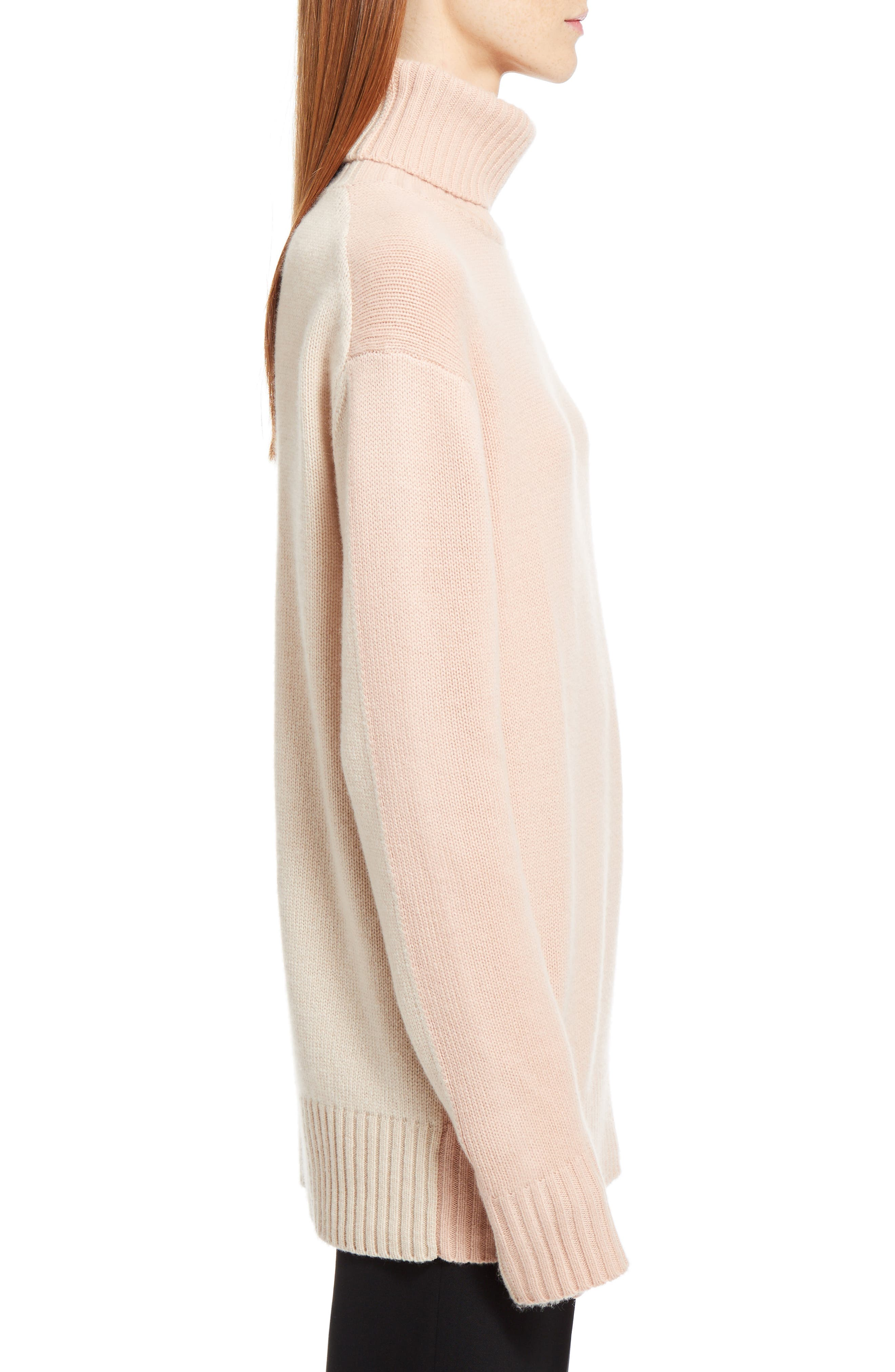 Colorblock Cashmere Turtleneck Sweater,                             Alternate thumbnail 4, color,                             Pink/ Beige