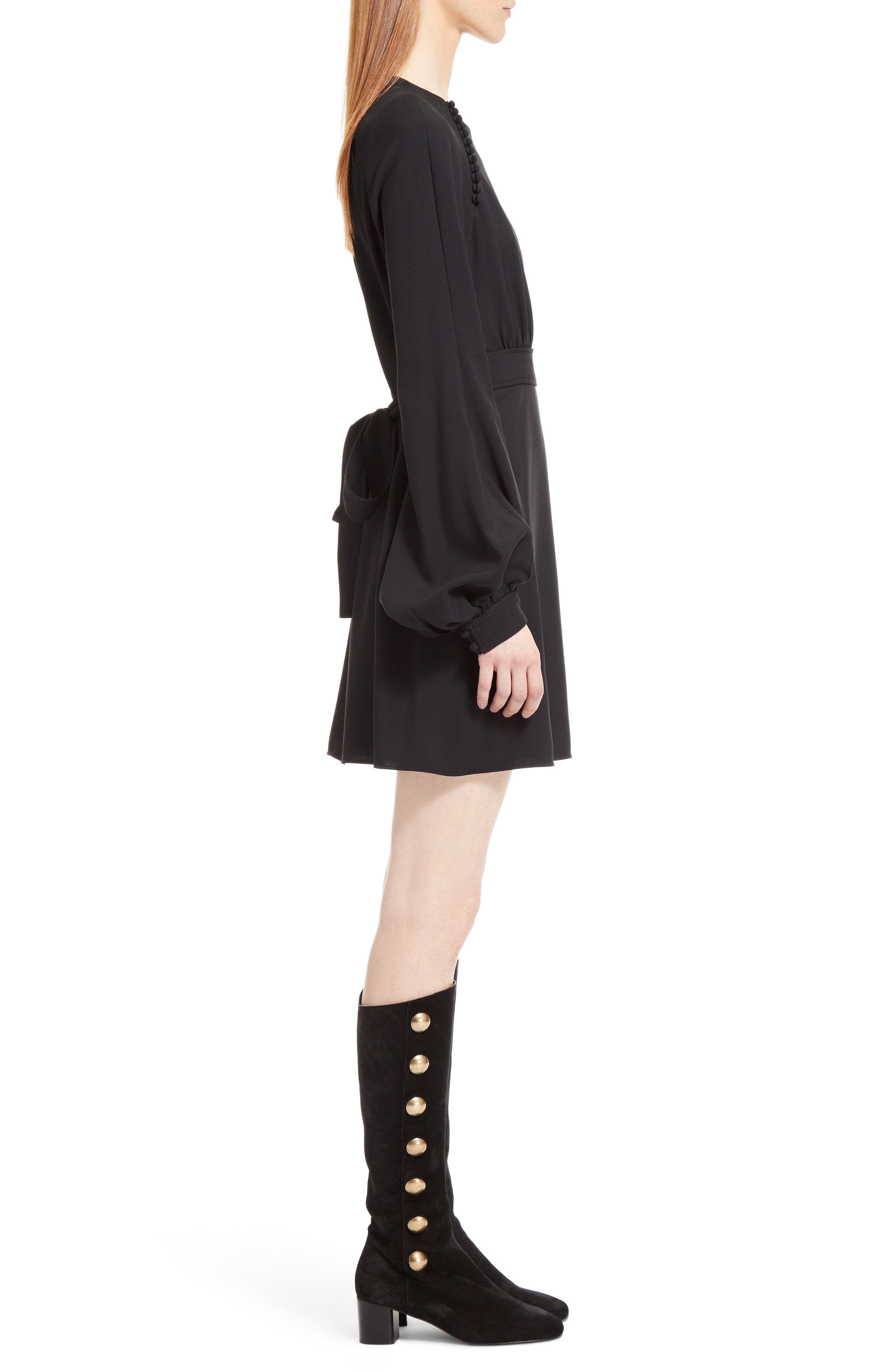 Cady Bell Sleeve Dress,                             Alternate thumbnail 4, color,                             Black