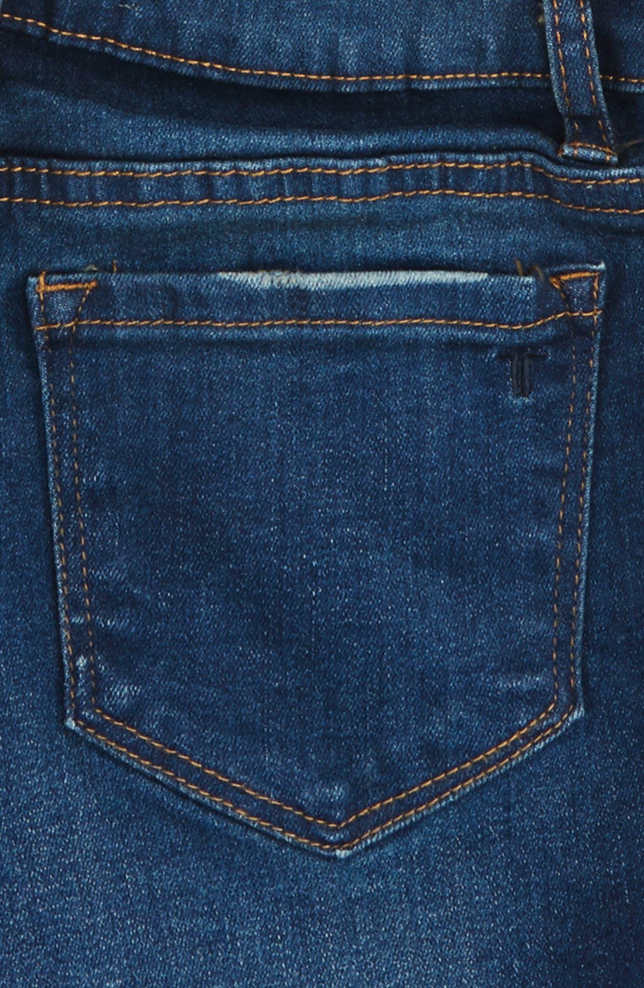 Frayed Hem Denim Shorts,                             Alternate thumbnail 2, color,                             Dark Indigo