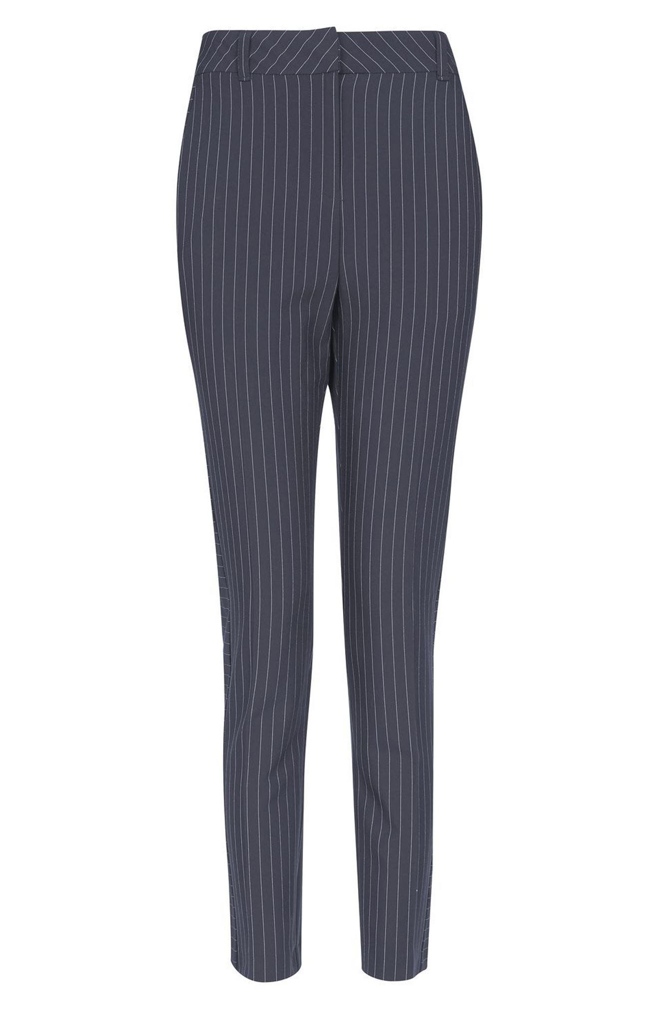 Cut About Pinstripe Cigarette Trousers,                             Alternate thumbnail 4, color,                             Navy Blue