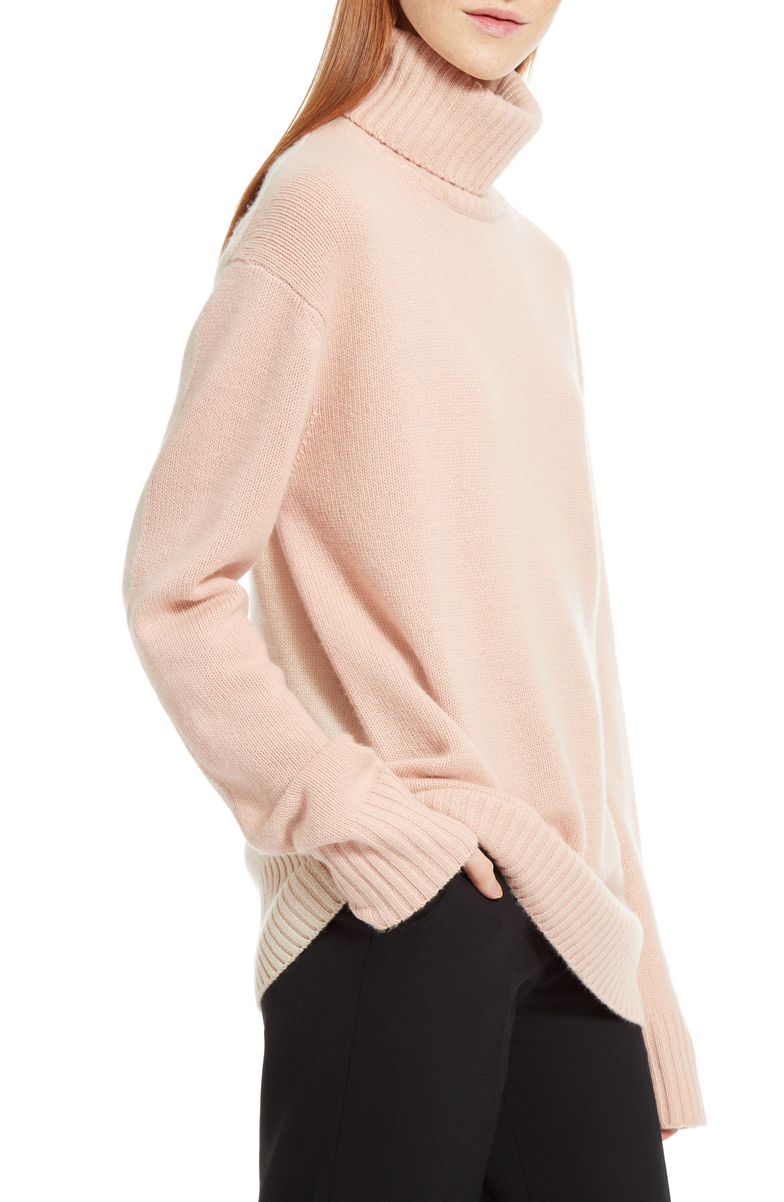 Colorblock Cashmere Turtleneck Sweater,                             Alternate thumbnail 5, color,                             Pink/ Beige