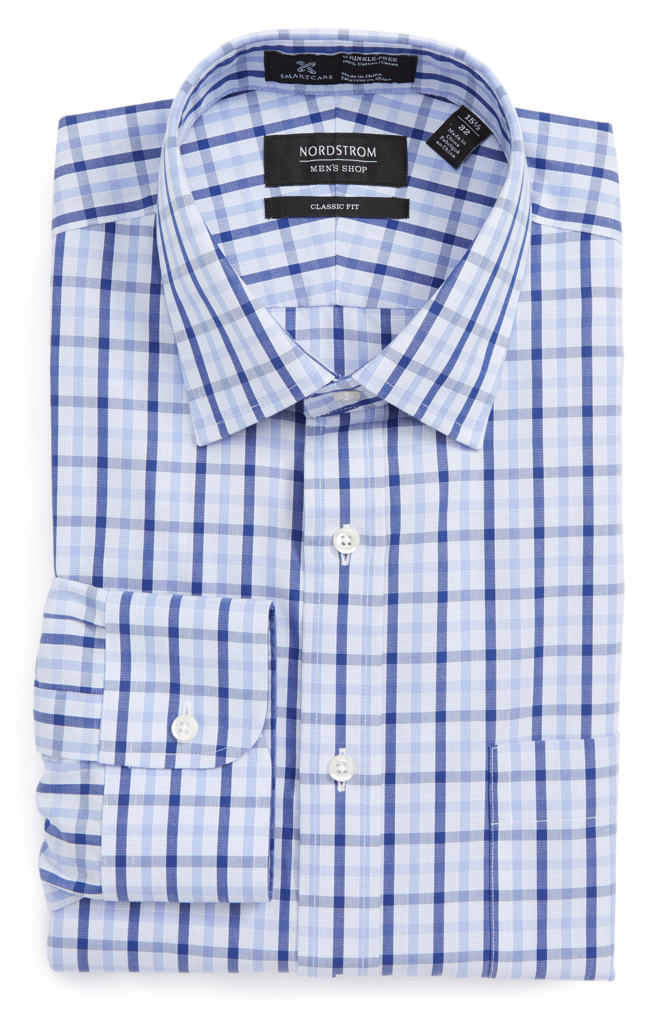 Smartcare<sup>™</sup> Trim Fit Check Dress Shirt,                         Main,                         color, Blue Marine