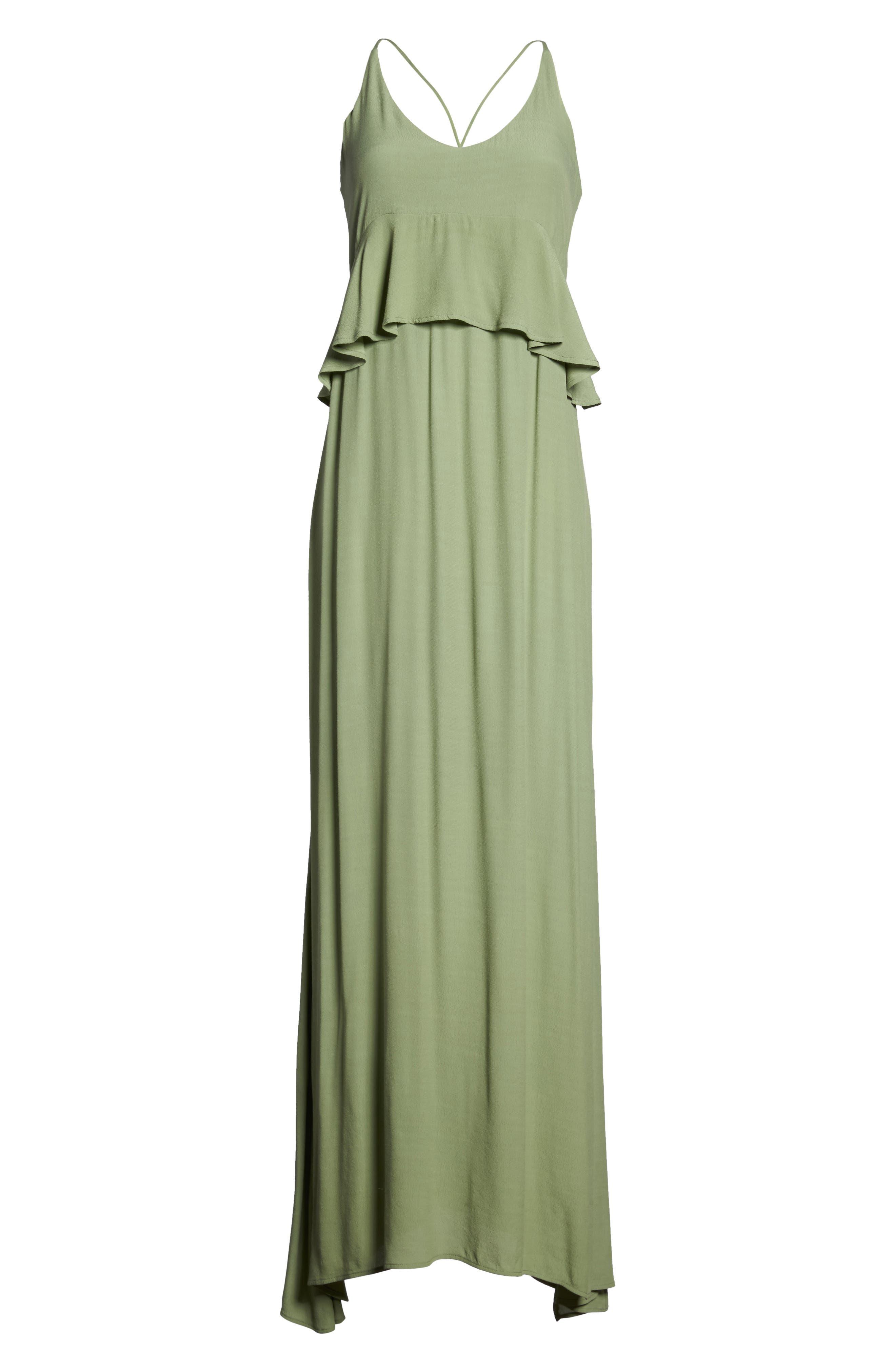 Roe + May Jolie Crepe Peplum Dress,                             Alternate thumbnail 6, color,                             Sage