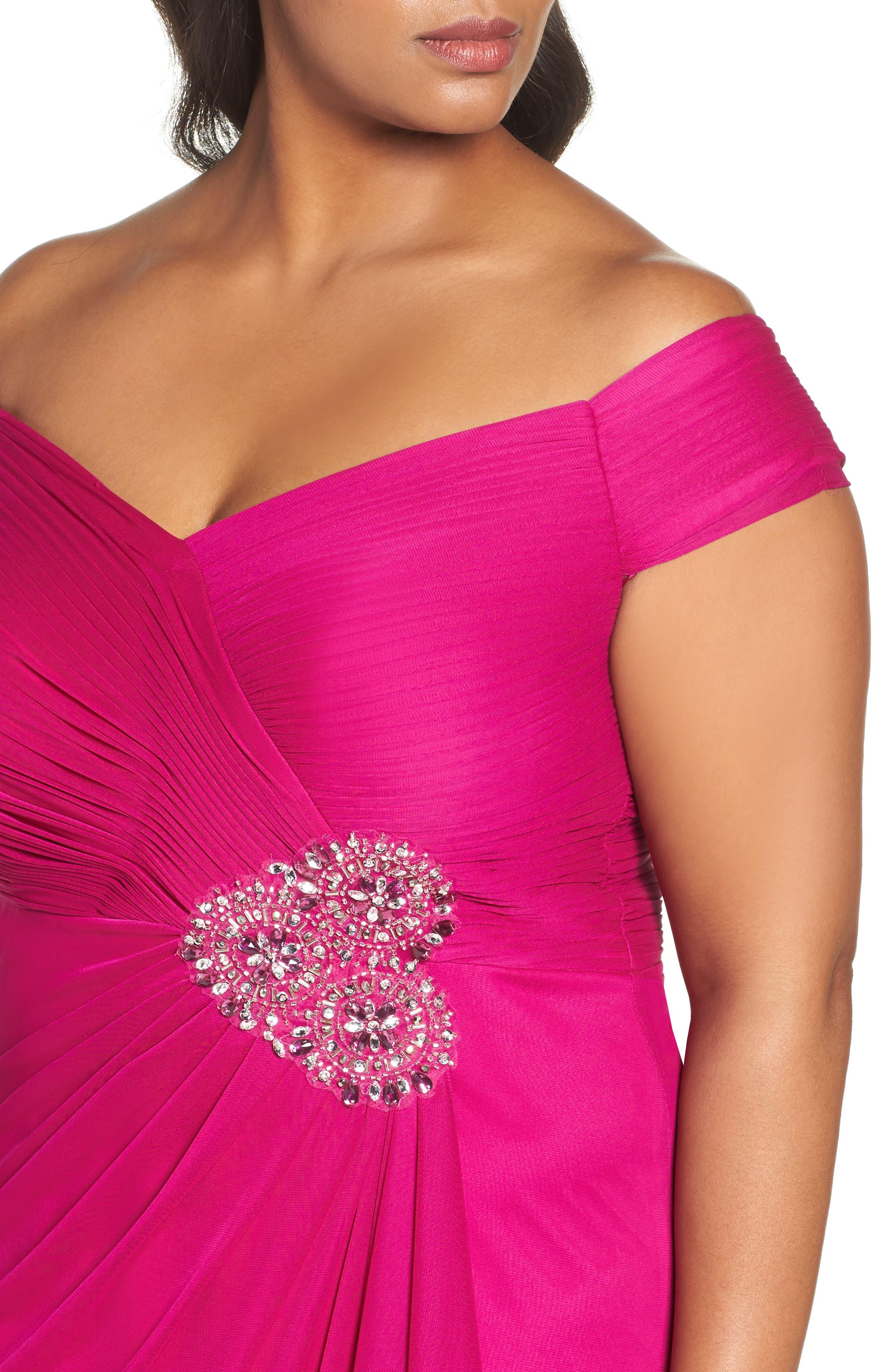 Alternate Image 4  - Alex Evenings Embellished Off the Shoulder Gown (Plus Size)